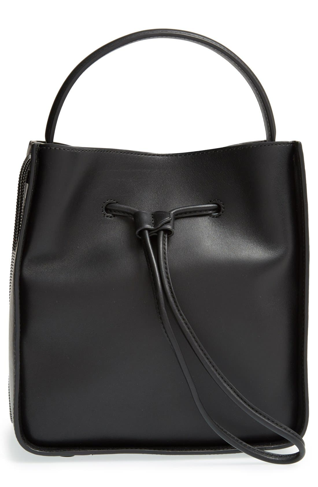 Small Soleil Leather Bucket Bag,                             Main thumbnail 2, color,