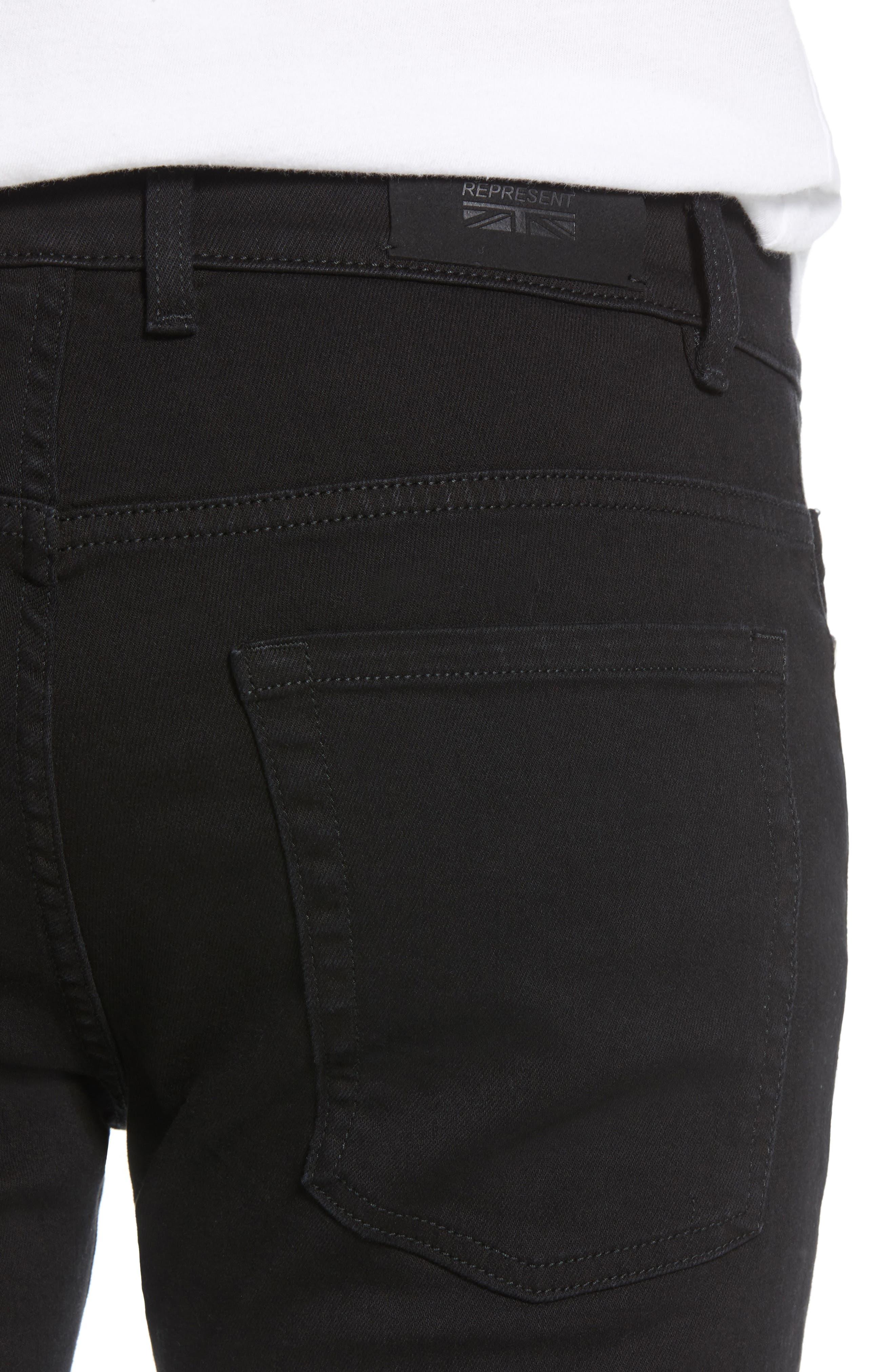 Destroyer Ripped Slim Fit Jeans,                             Alternate thumbnail 4, color,                             BLACK