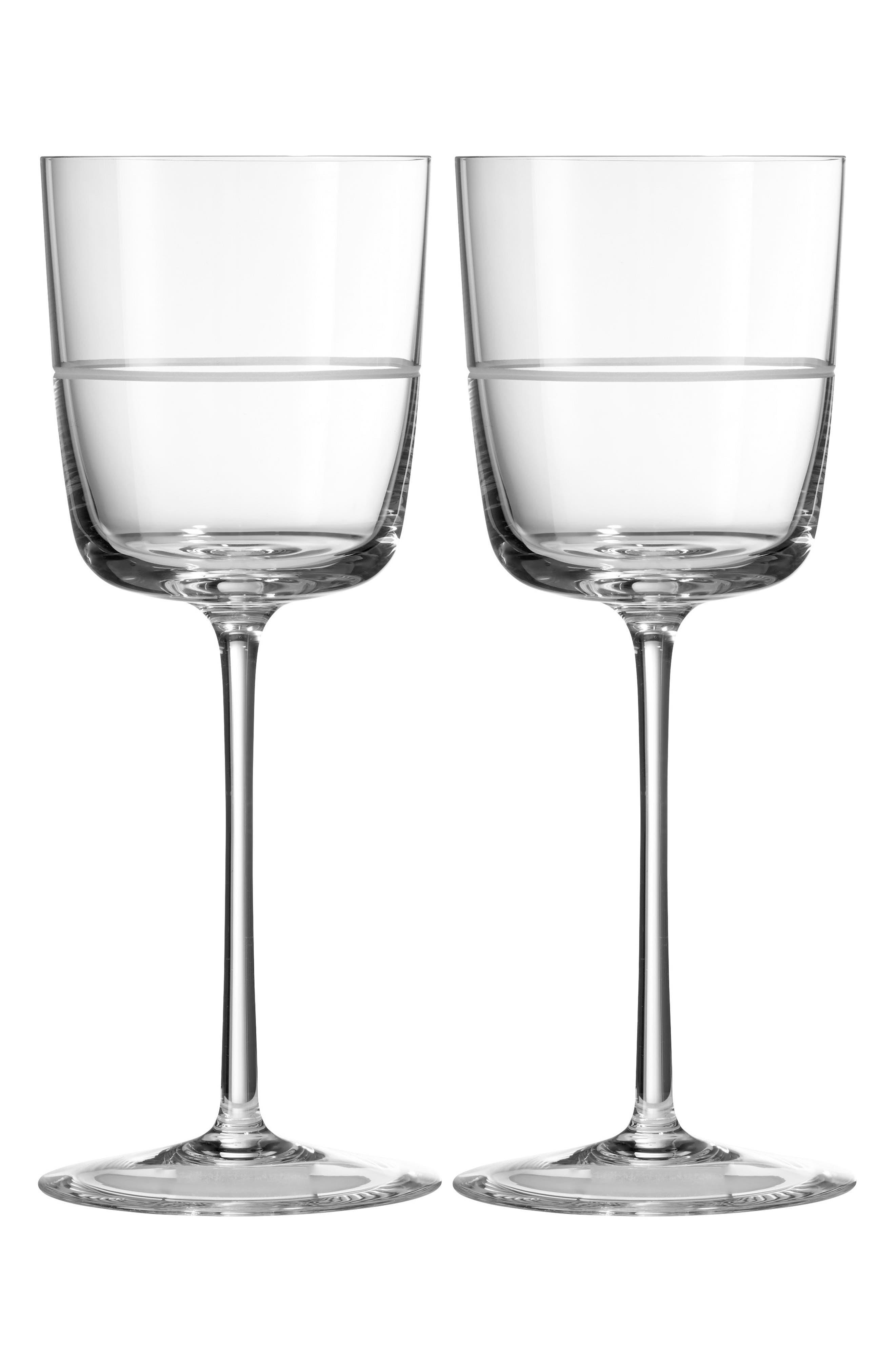 x Wedgwood Vera Bande Set of 2 Wine Glasses,                             Main thumbnail 1, color,                             040