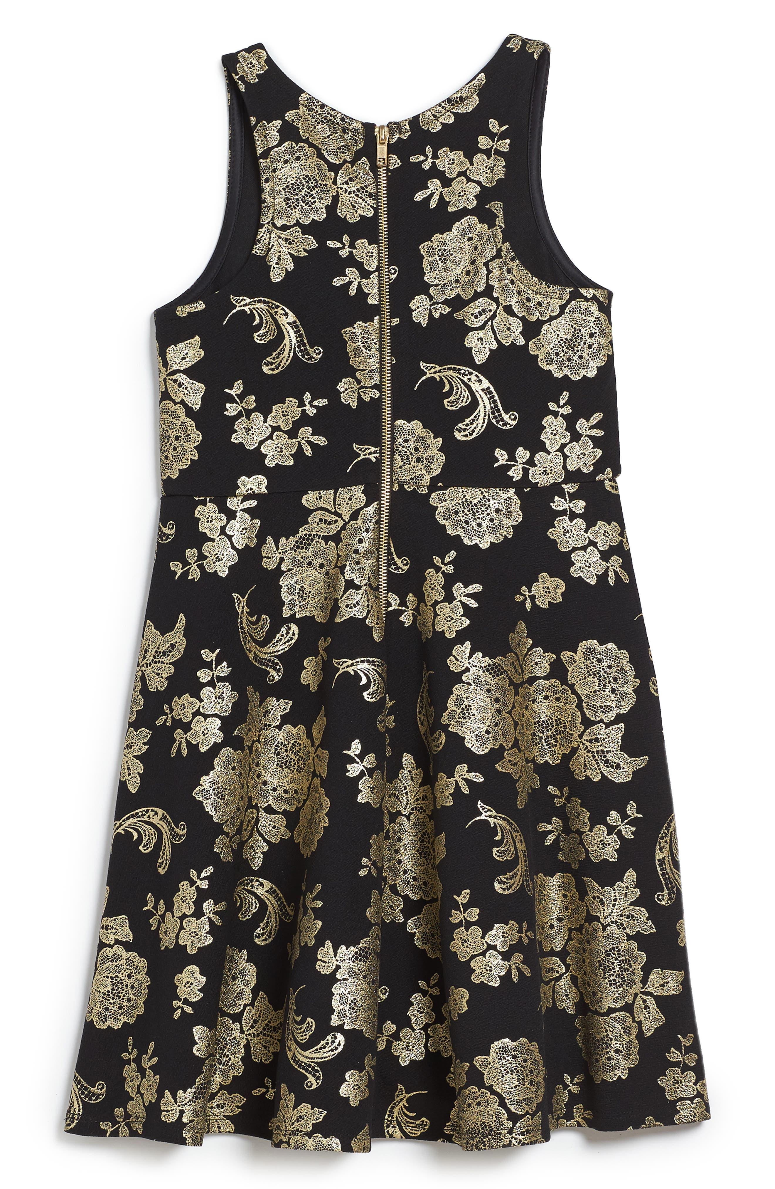 Foil Print Skater Dress,                             Alternate thumbnail 2, color,                             001