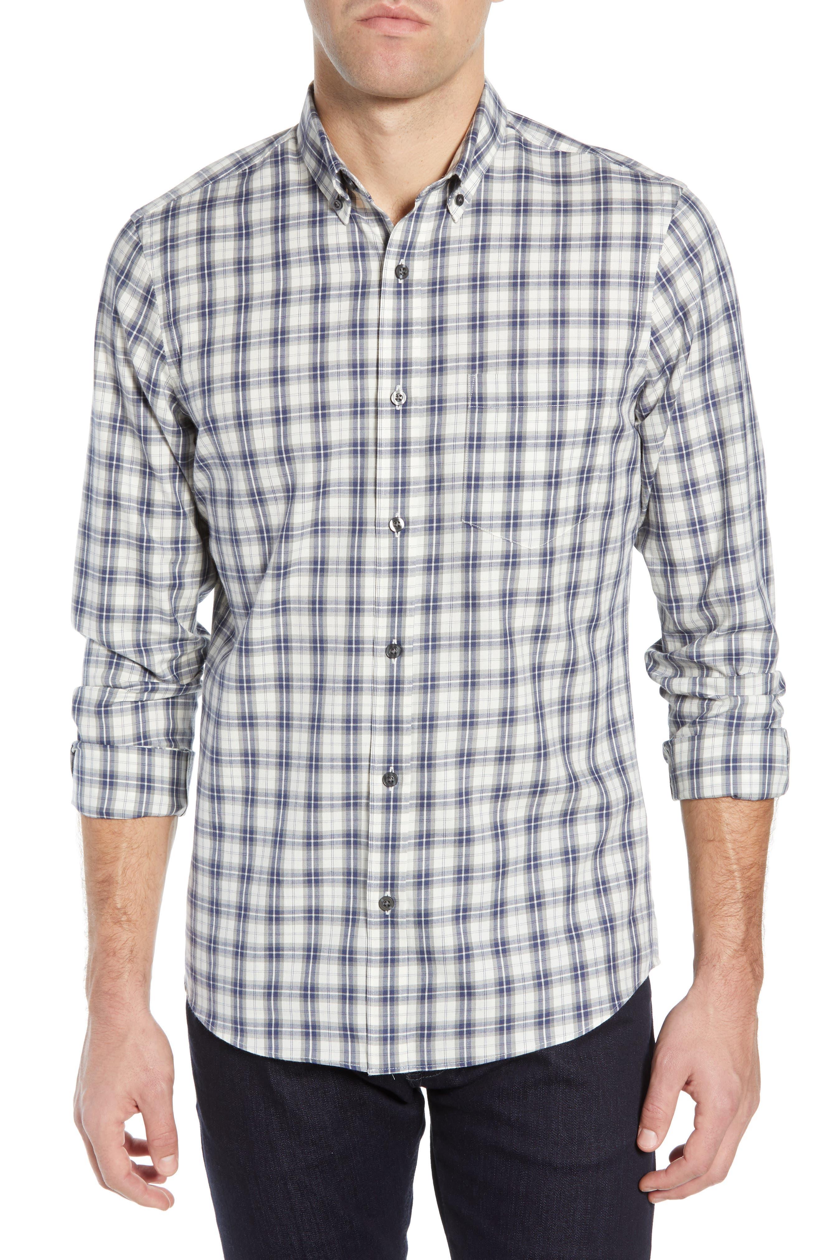 Slim Fit Plaid Sport Shirt,                             Main thumbnail 1, color,                             WHITE BLUE ENSIGN GREY PLAID