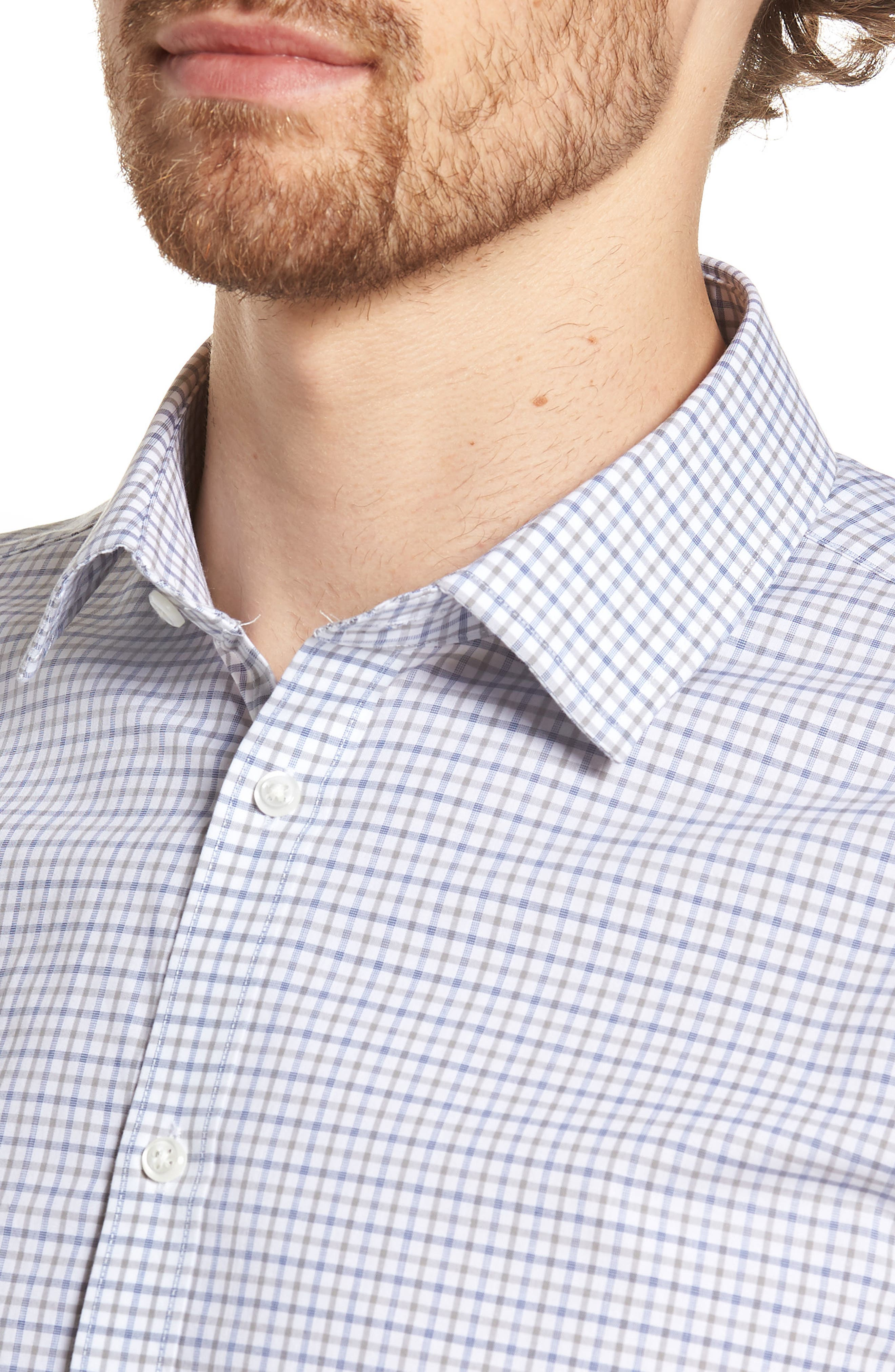 Extra Trim Fit Check Dress Shirt,                             Alternate thumbnail 6, color,