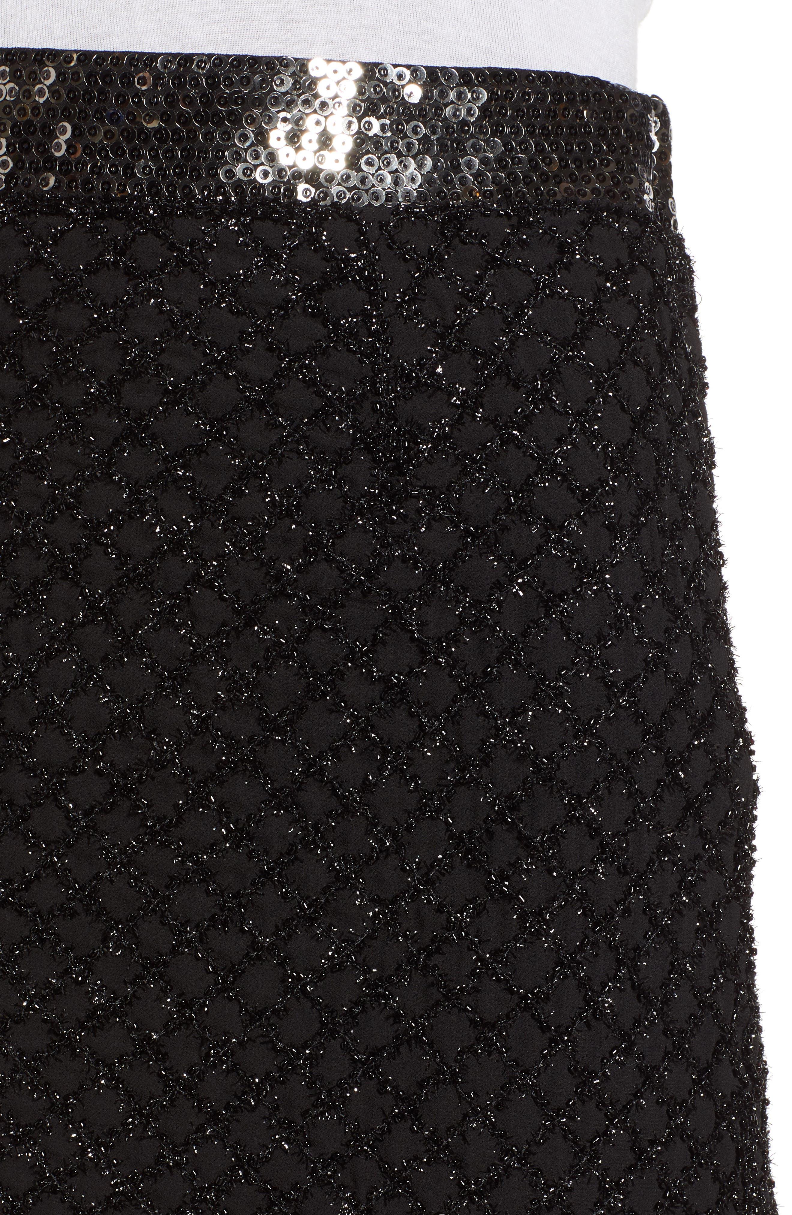 Sequin Scallop Hem Miniskirt,                             Alternate thumbnail 4, color,                             001