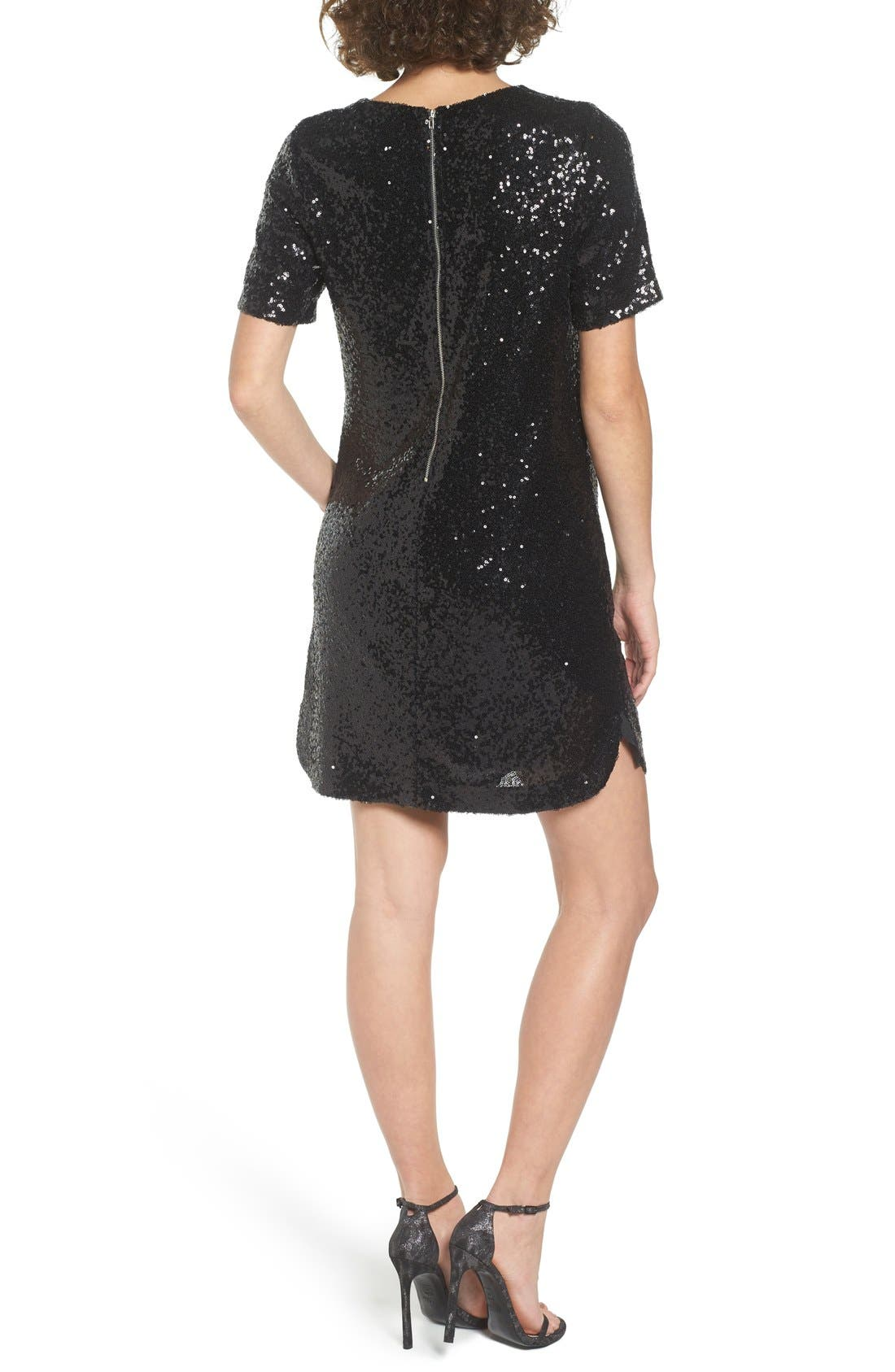 Sequin T-Shirt Dress,                             Alternate thumbnail 2, color,                             001