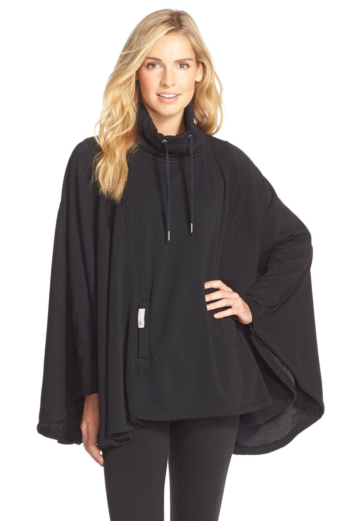 Pichot Turtleneck Poncho,                             Main thumbnail 1, color,                             BLACK