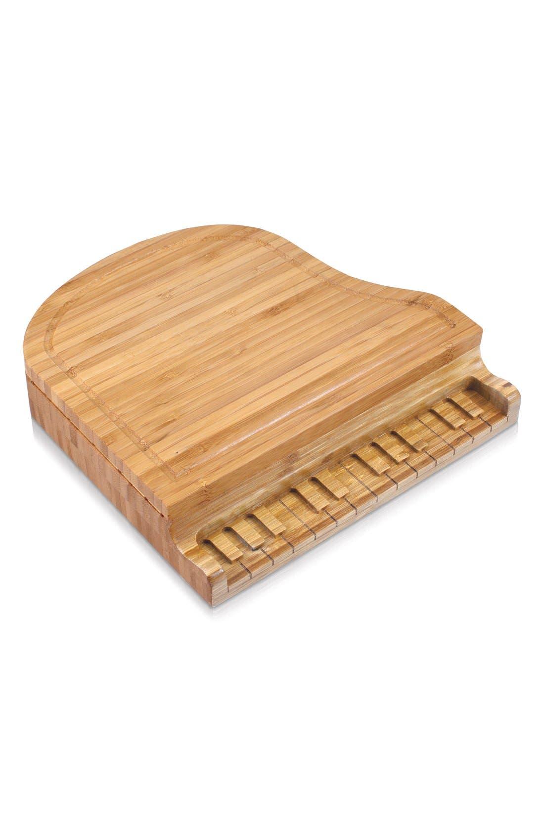 'Piano' Cheese Board Set,                             Alternate thumbnail 3, color,                             BROWN