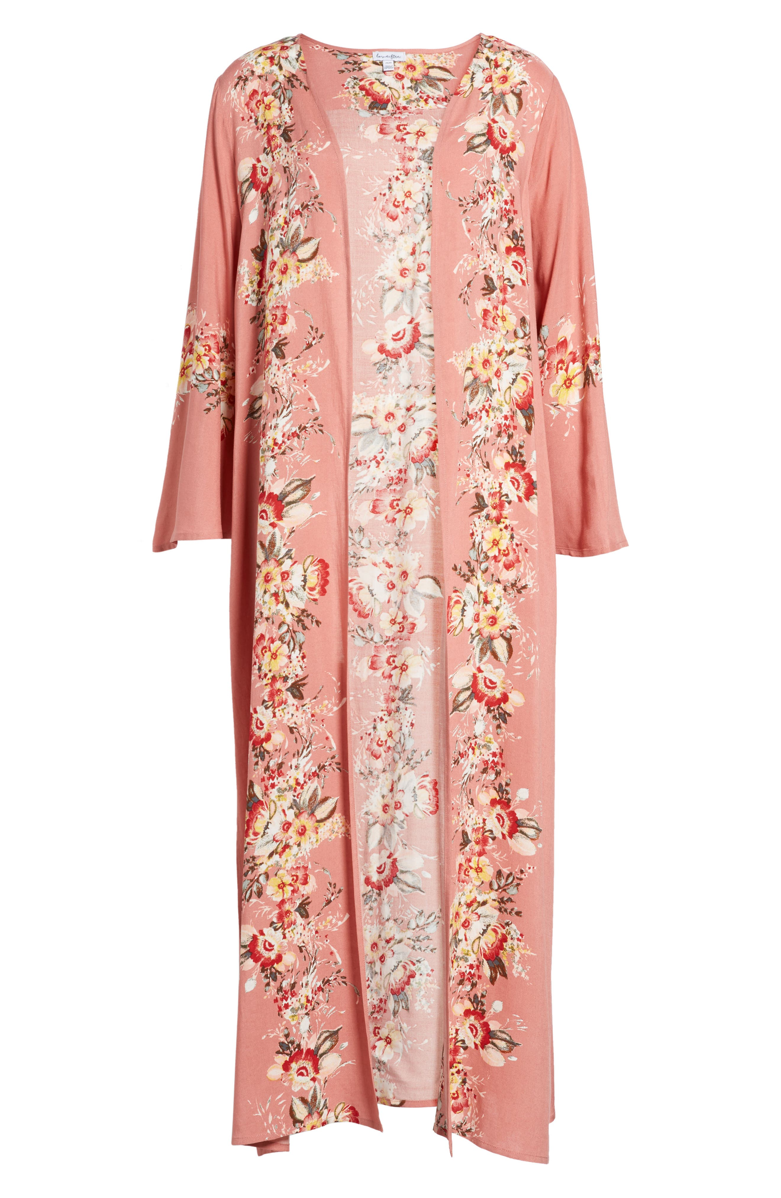 Placed Floral Kimono,                             Alternate thumbnail 5, color,                             698