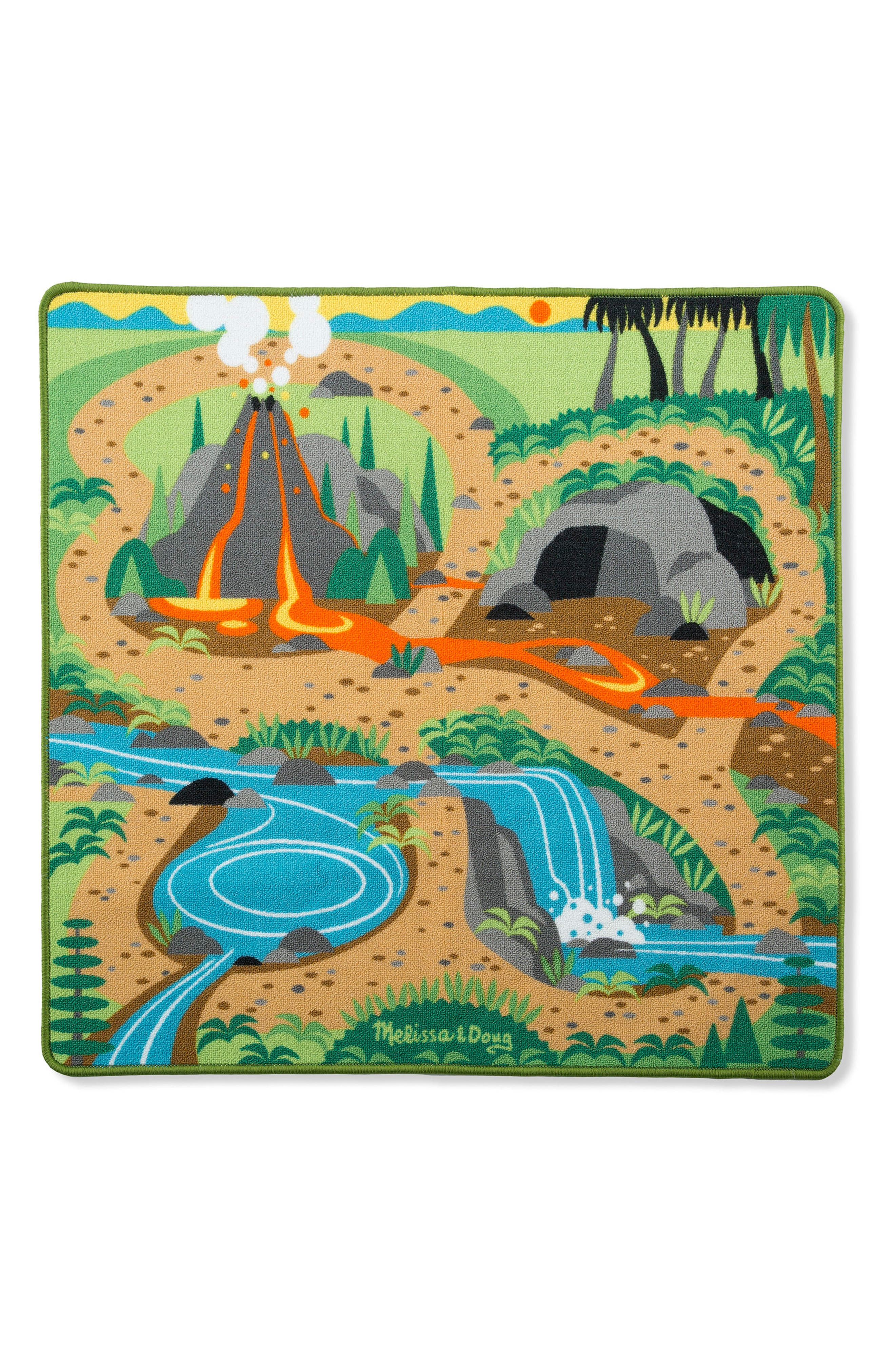 Prehistoric Playground Dinosaur Rug,                             Main thumbnail 1, color,                             GREEN