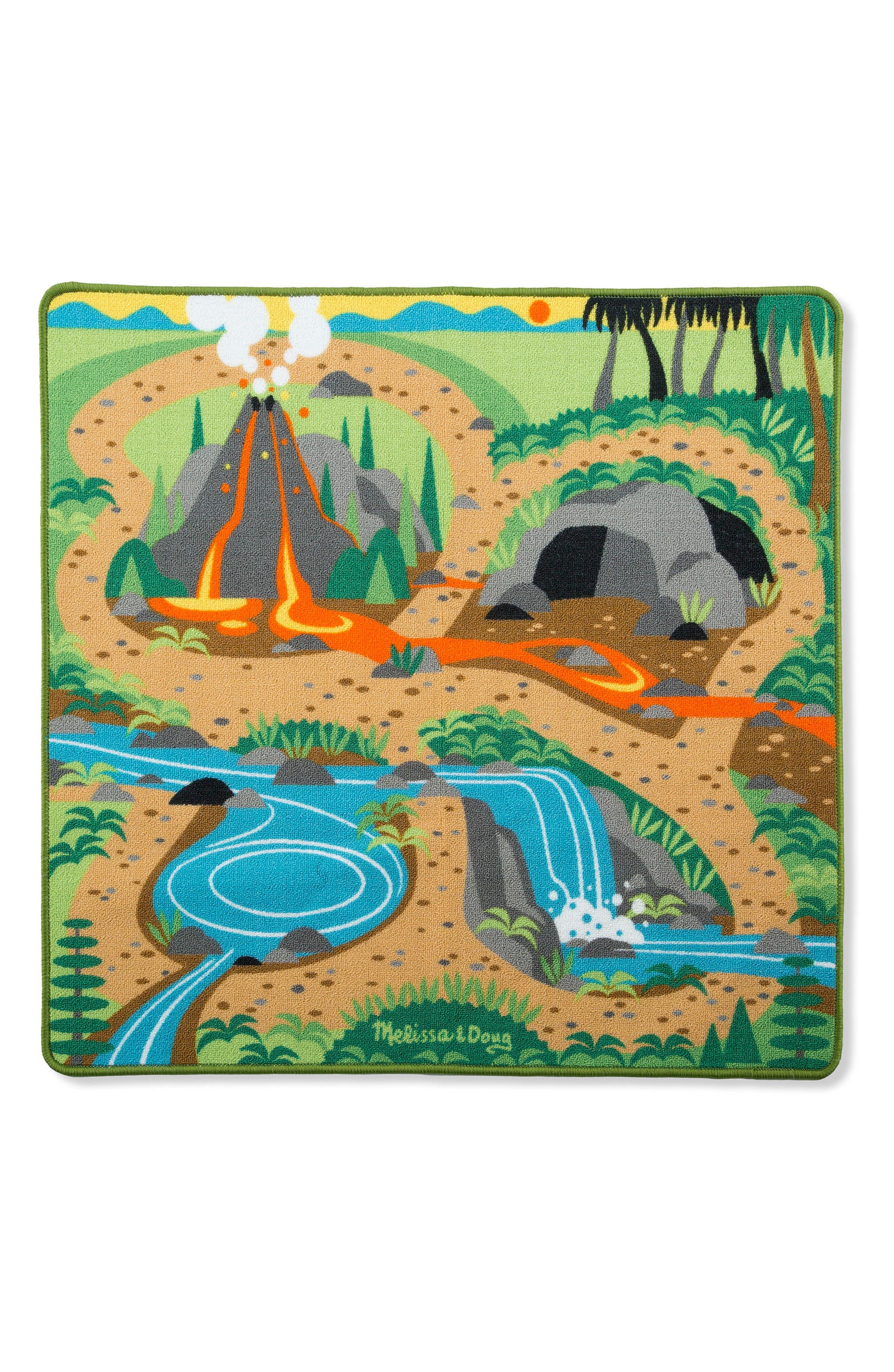 Prehistoric Playground Dinosaur Rug,                         Main,                         color, GREEN