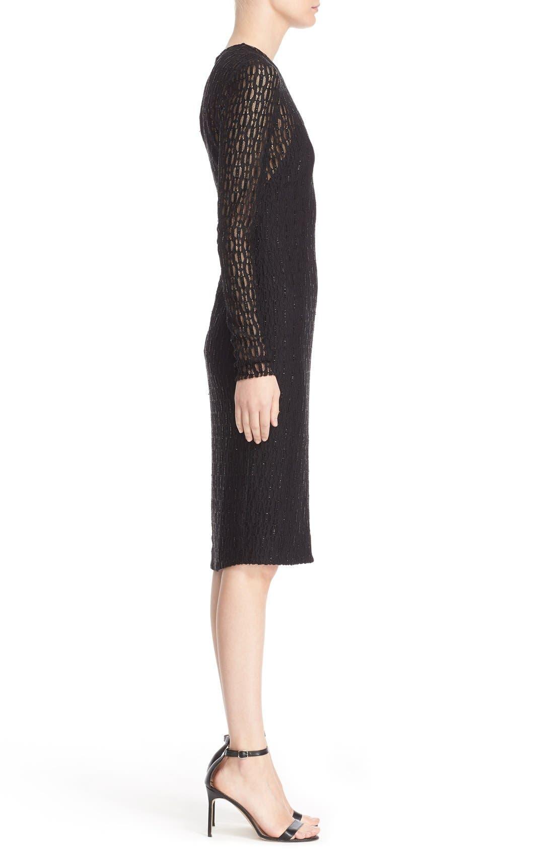 Embellished Illusion Lace Knit Sheath Dress,                             Alternate thumbnail 5, color,                             001