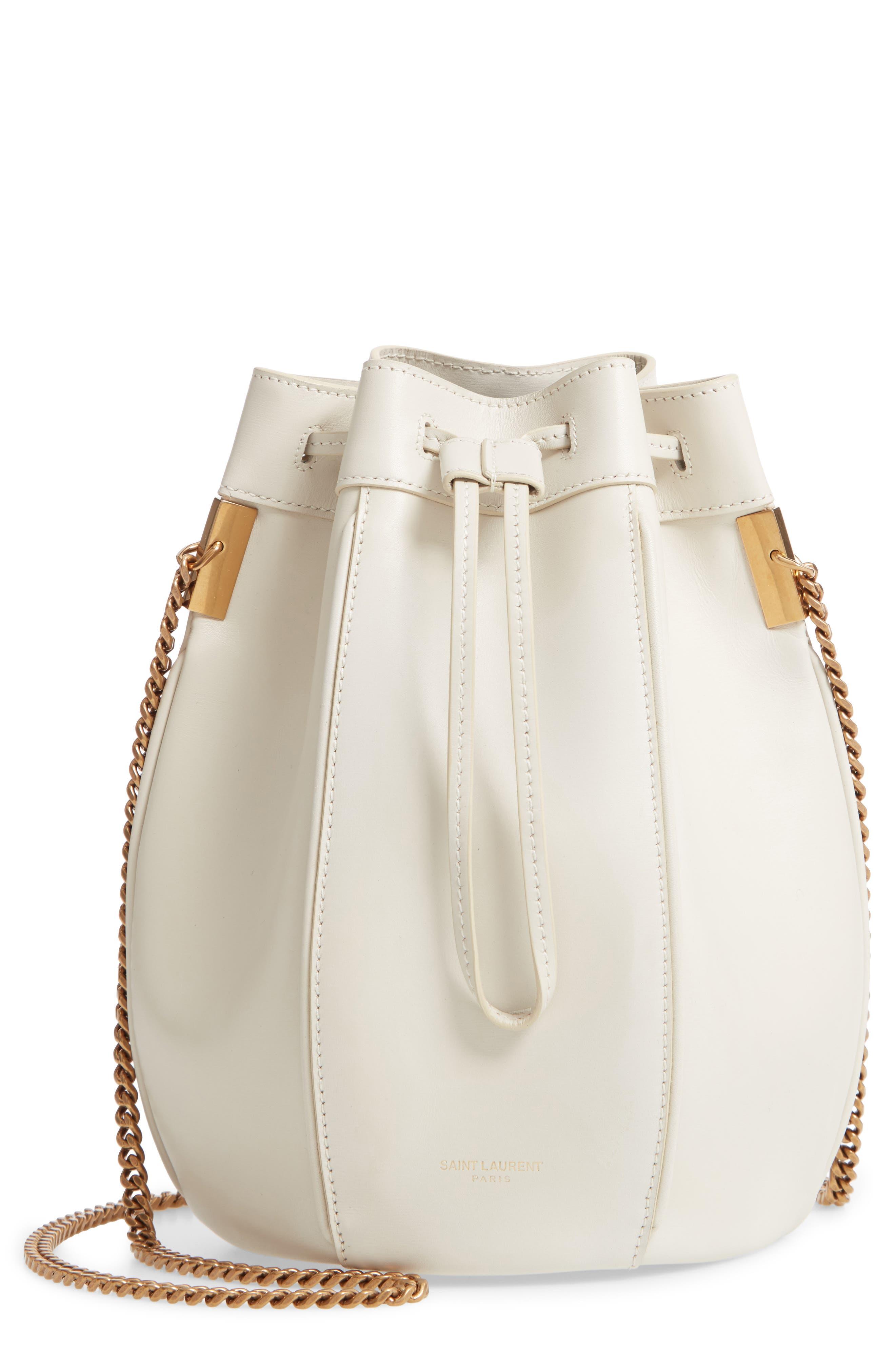Small Talitha Leather Bucket Bag,                             Main thumbnail 1, color,                             CREMASOFT