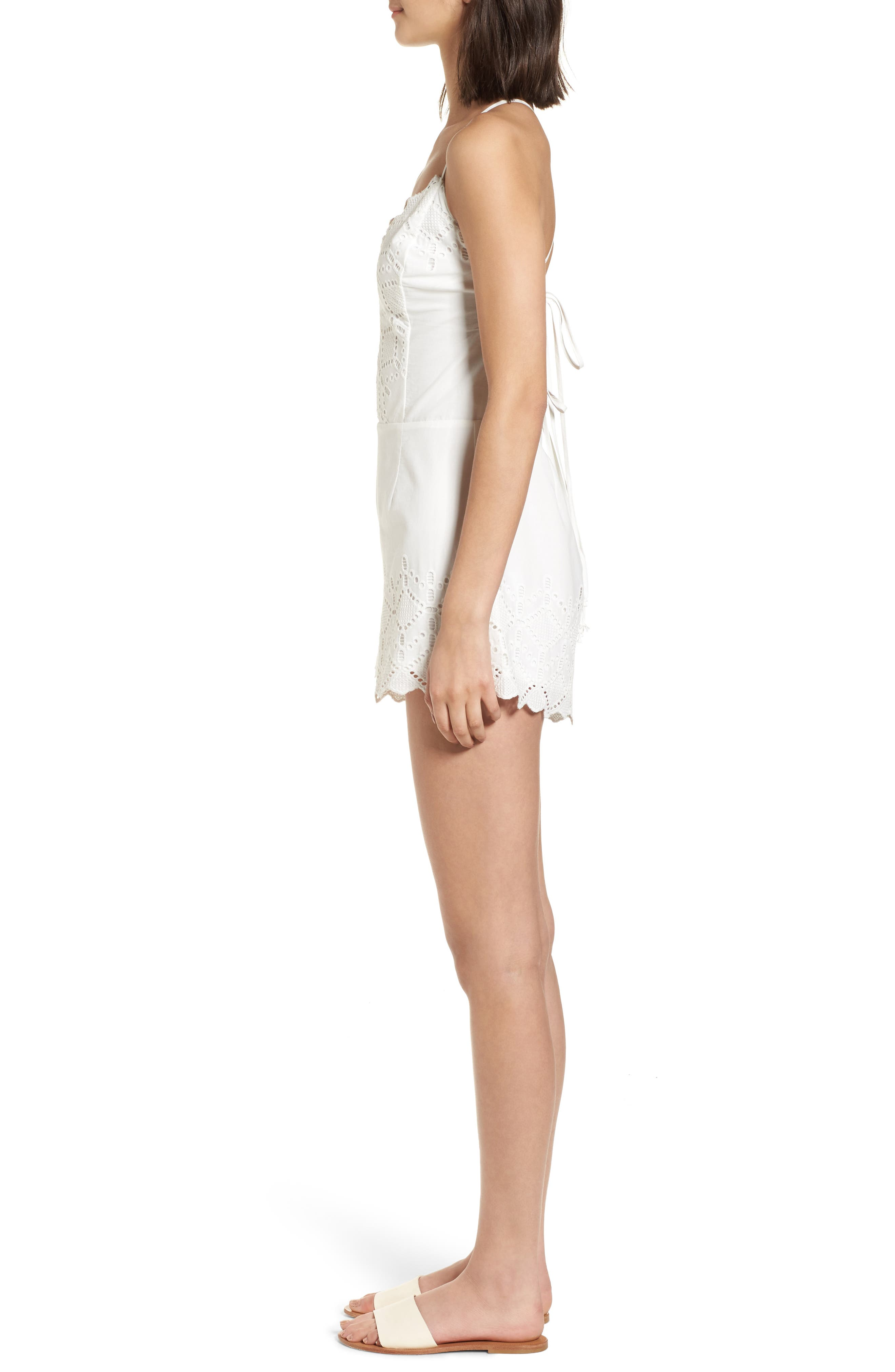 Strappy Eyelet Romper,                             Alternate thumbnail 3, color,                             100