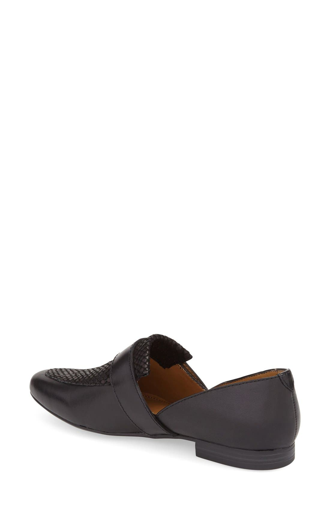 'Hilary' Leather Loafer,                             Alternate thumbnail 2, color,                             BLACK LEATHER