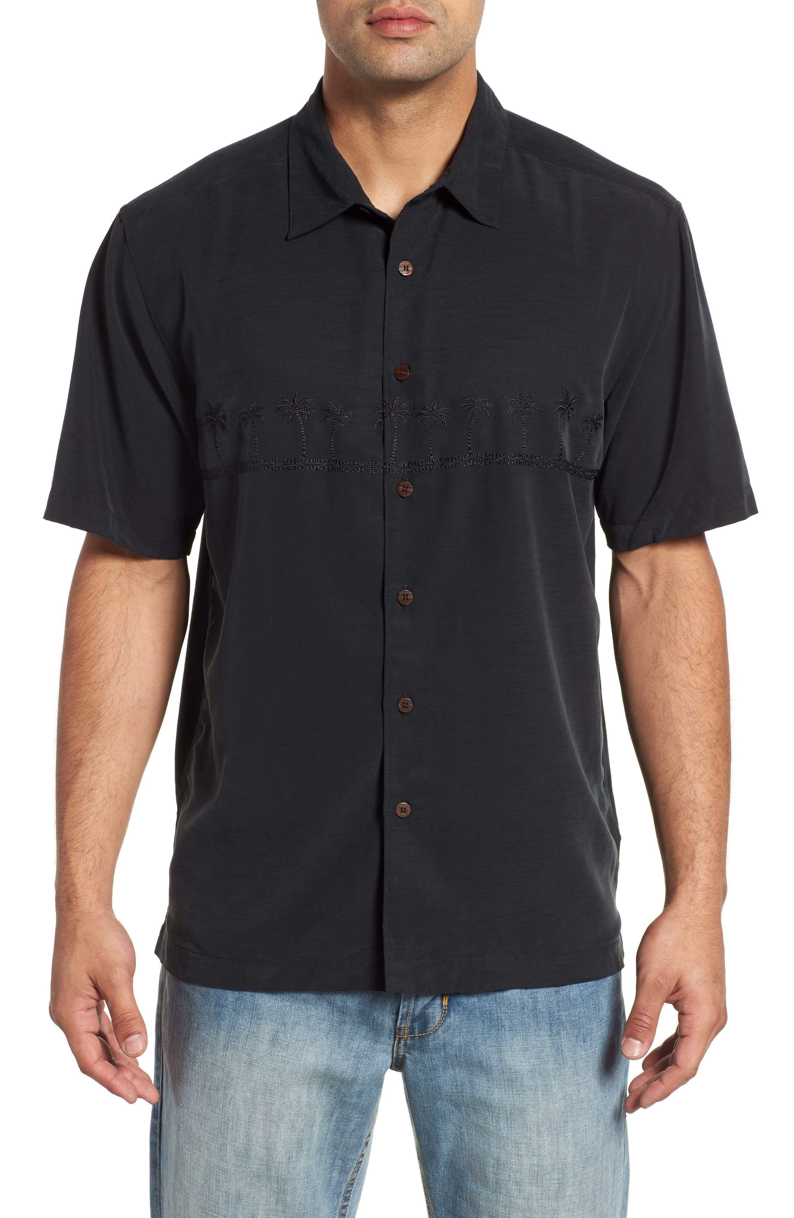 Quiksilver Waterman Collection Tahiti Palms Regular Fit Sport Shirt, Black