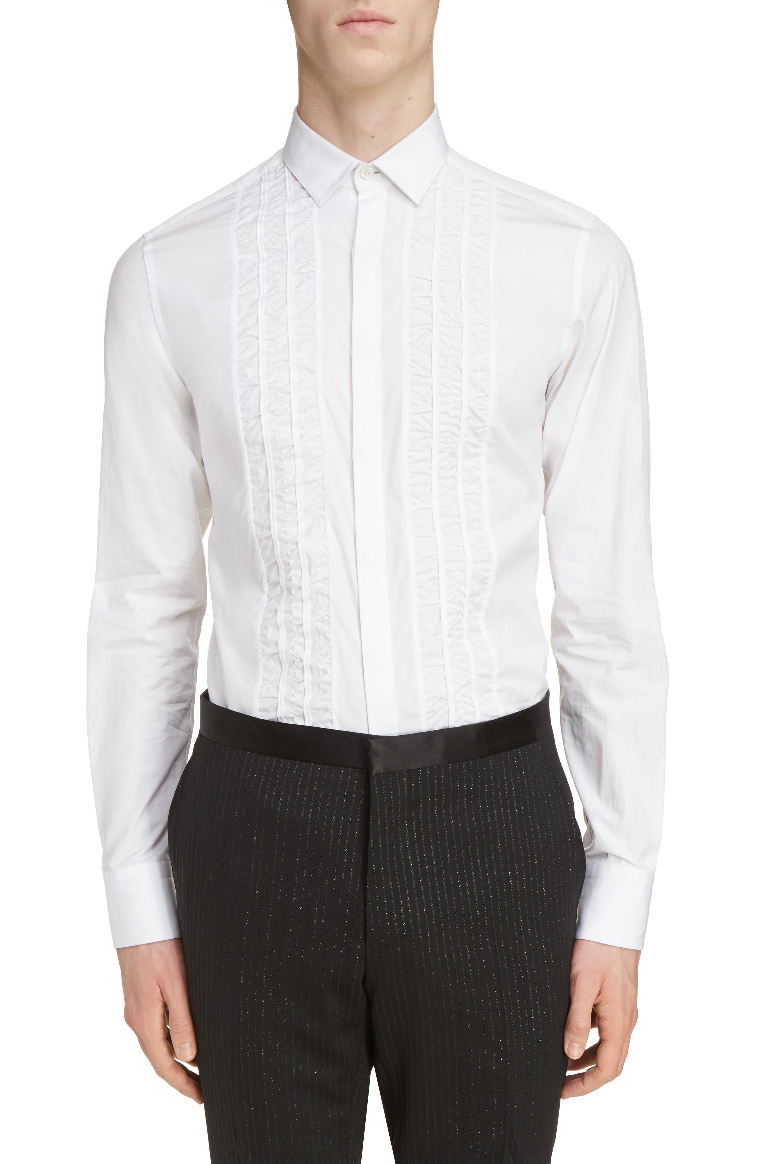 Ruffle Tuxedo Shirt,                             Main thumbnail 1, color,