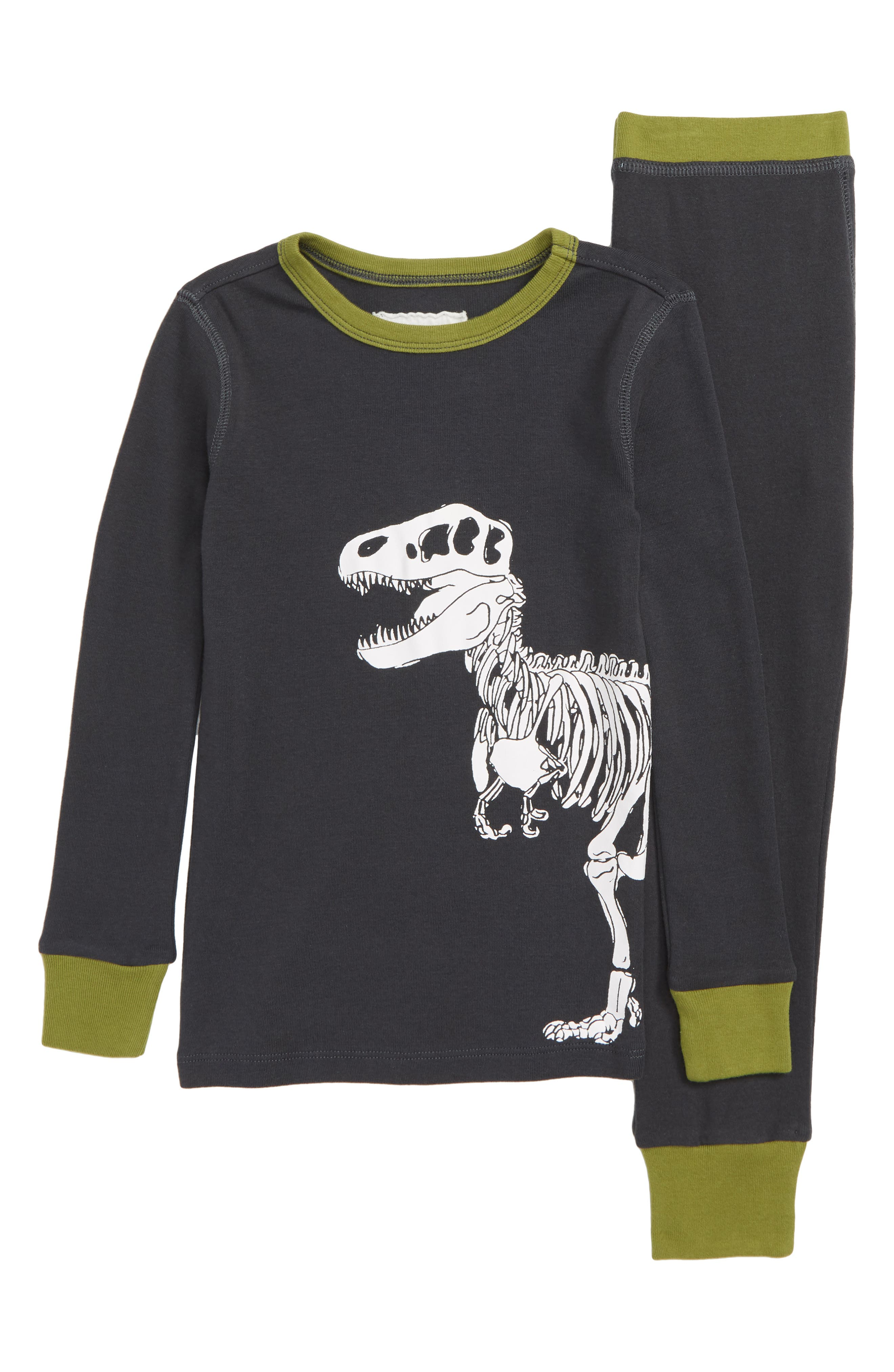 T. Rex Skeleton Fitted Two-Piece Pajamas,                         Main,                         color, 001