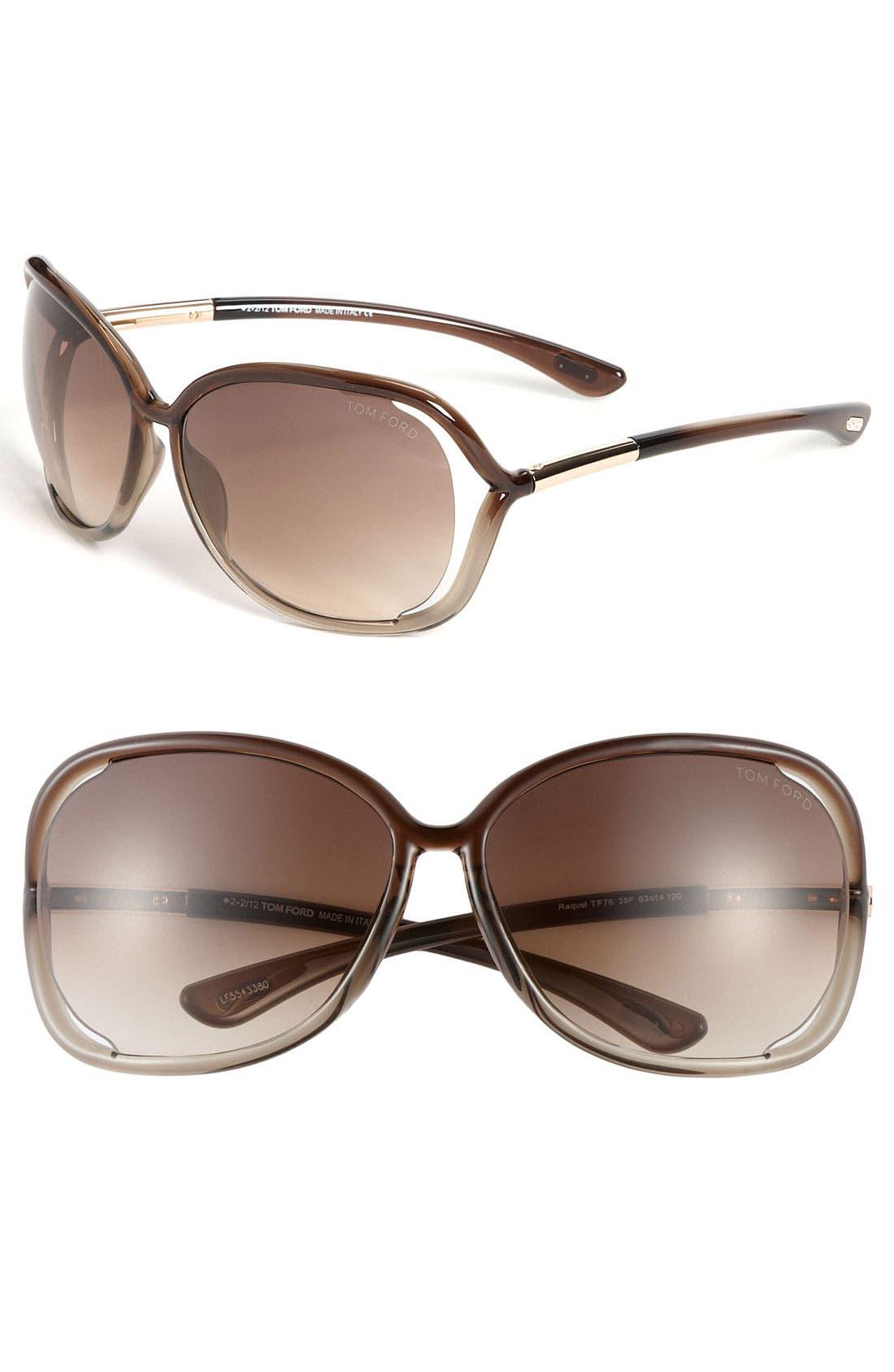'Raquel' 63mm Oversized Open Side Sunglasses,                         Main,                         color, TRANSPARENT BRONZE