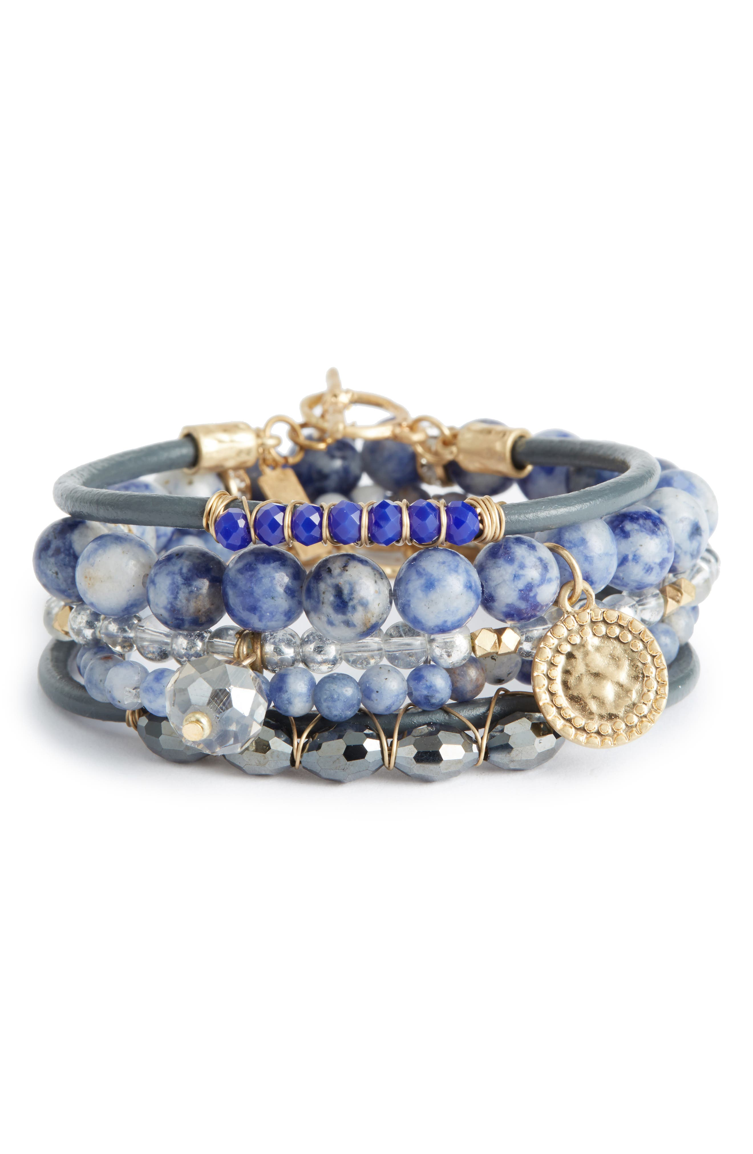 5-Piece Semiprecious Stone Stacking Bracelet,                         Main,                         color, TEAL
