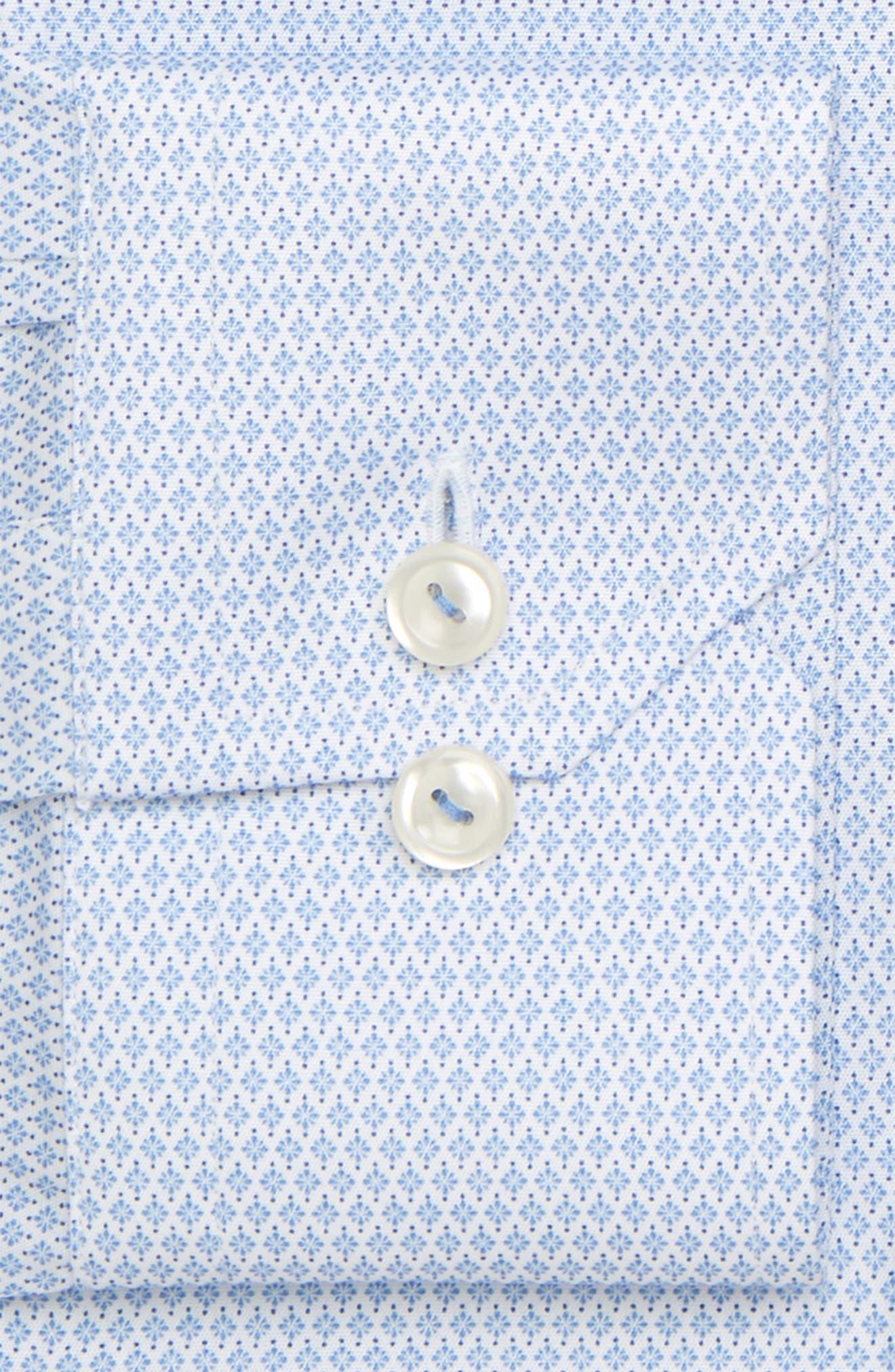 Contemporary Fit Print Dress Shirt,                             Alternate thumbnail 6, color,                             BLUE