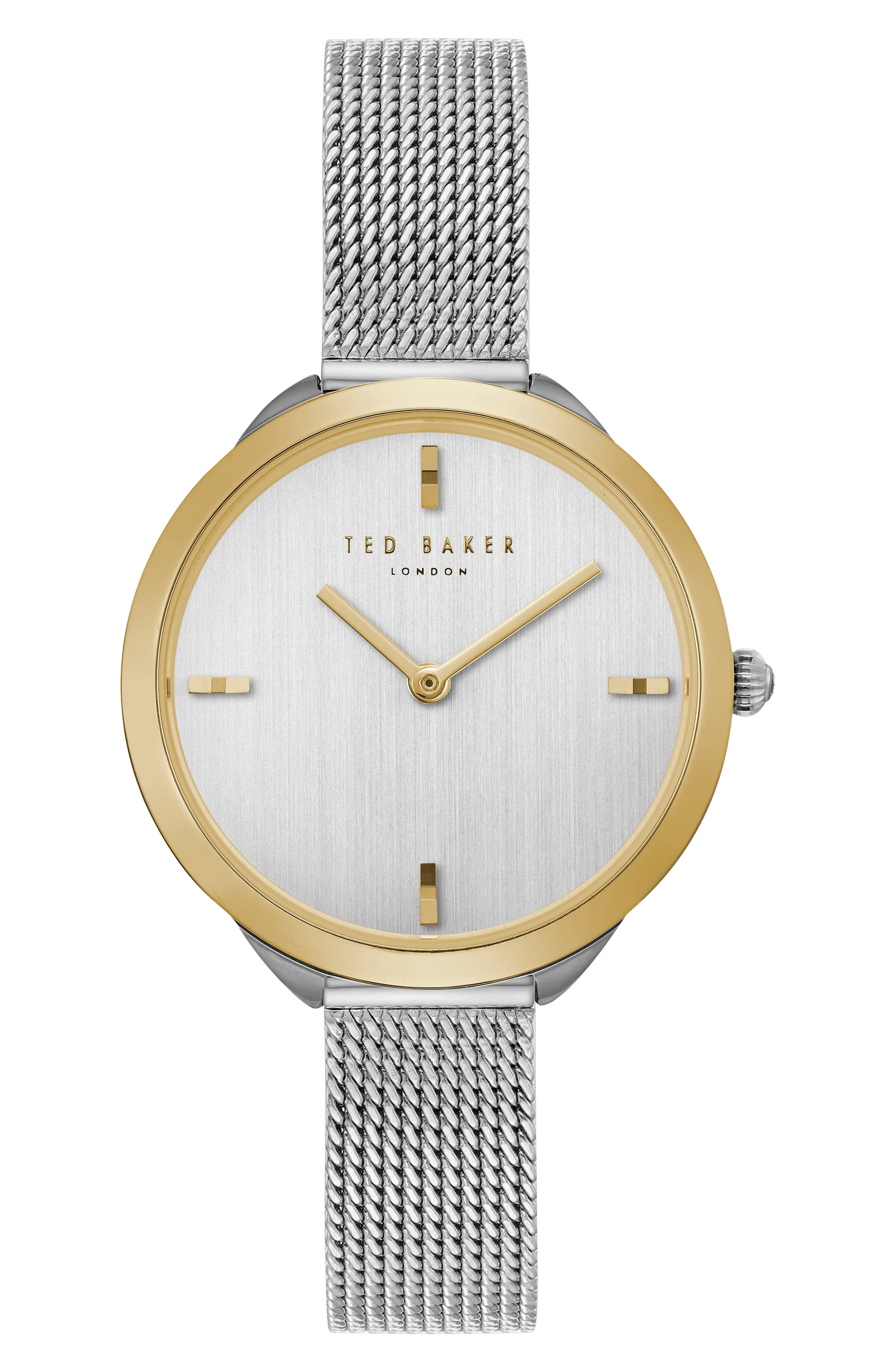 Elana Mesh Strap Watch, 30mm,                         Main,                         color, SILVER/ GOLD