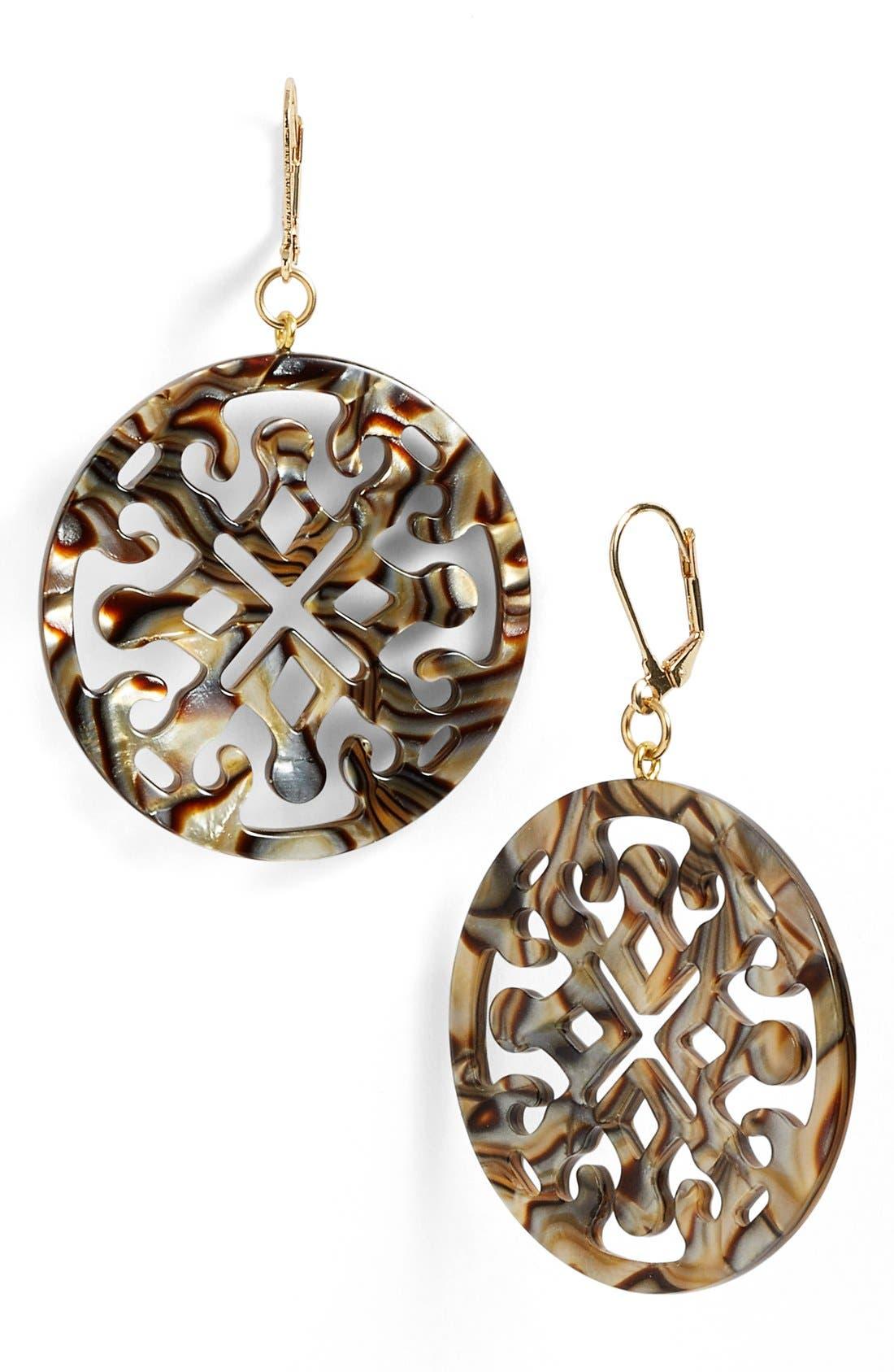 Medallion Filigree Drop Earrings,                             Main thumbnail 2, color,