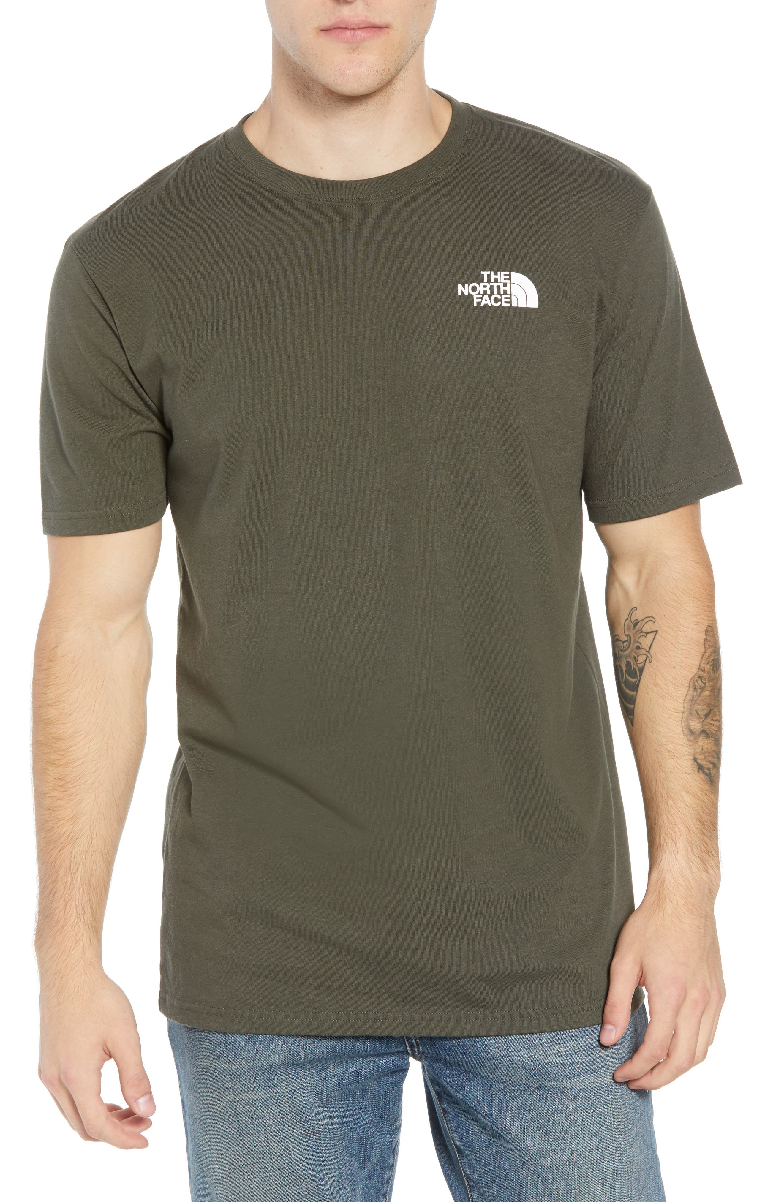'Red Box' Graphic T-Shirt,                             Main thumbnail 1, color,                             TAUPE GREEN/ TNF BLACK
