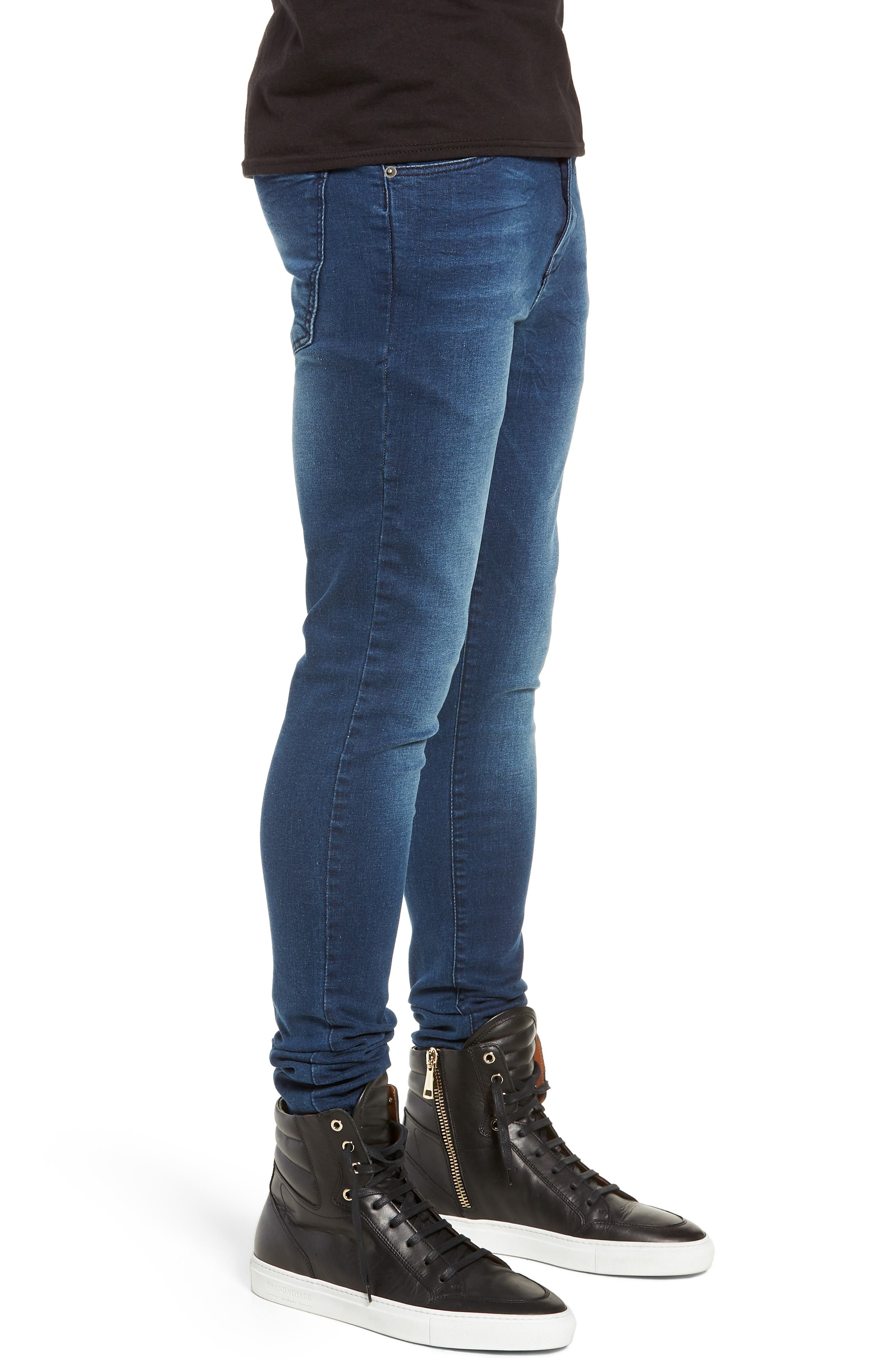 Leroy Skinny Fit Jeans,                             Alternate thumbnail 3, color,                             WORN DARK BLUE