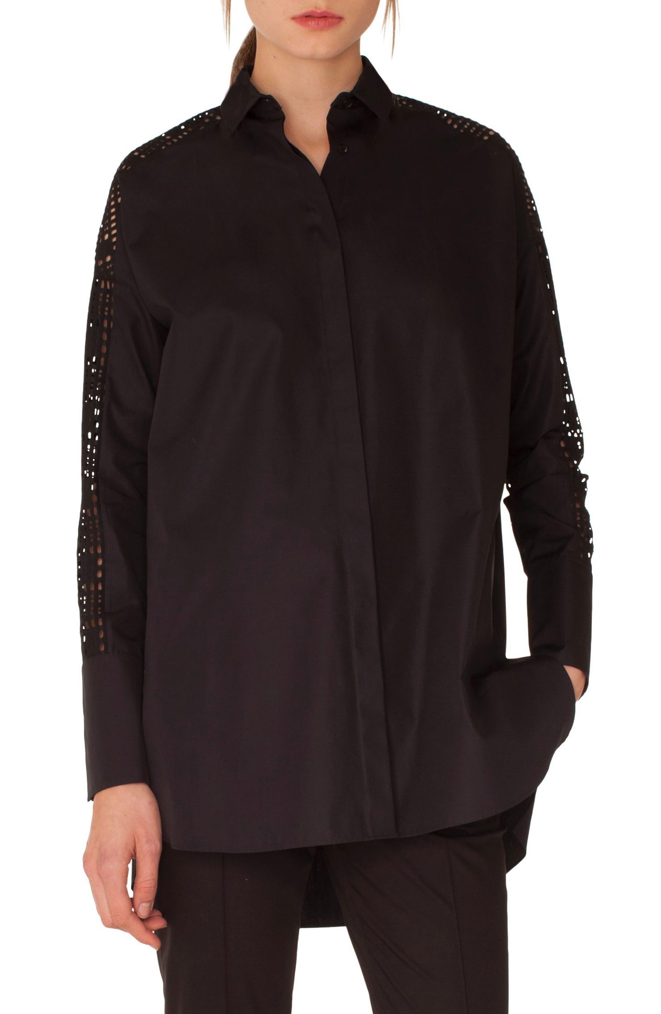 Lace Sleeve Cotton Tunic,                             Main thumbnail 1, color,                             009