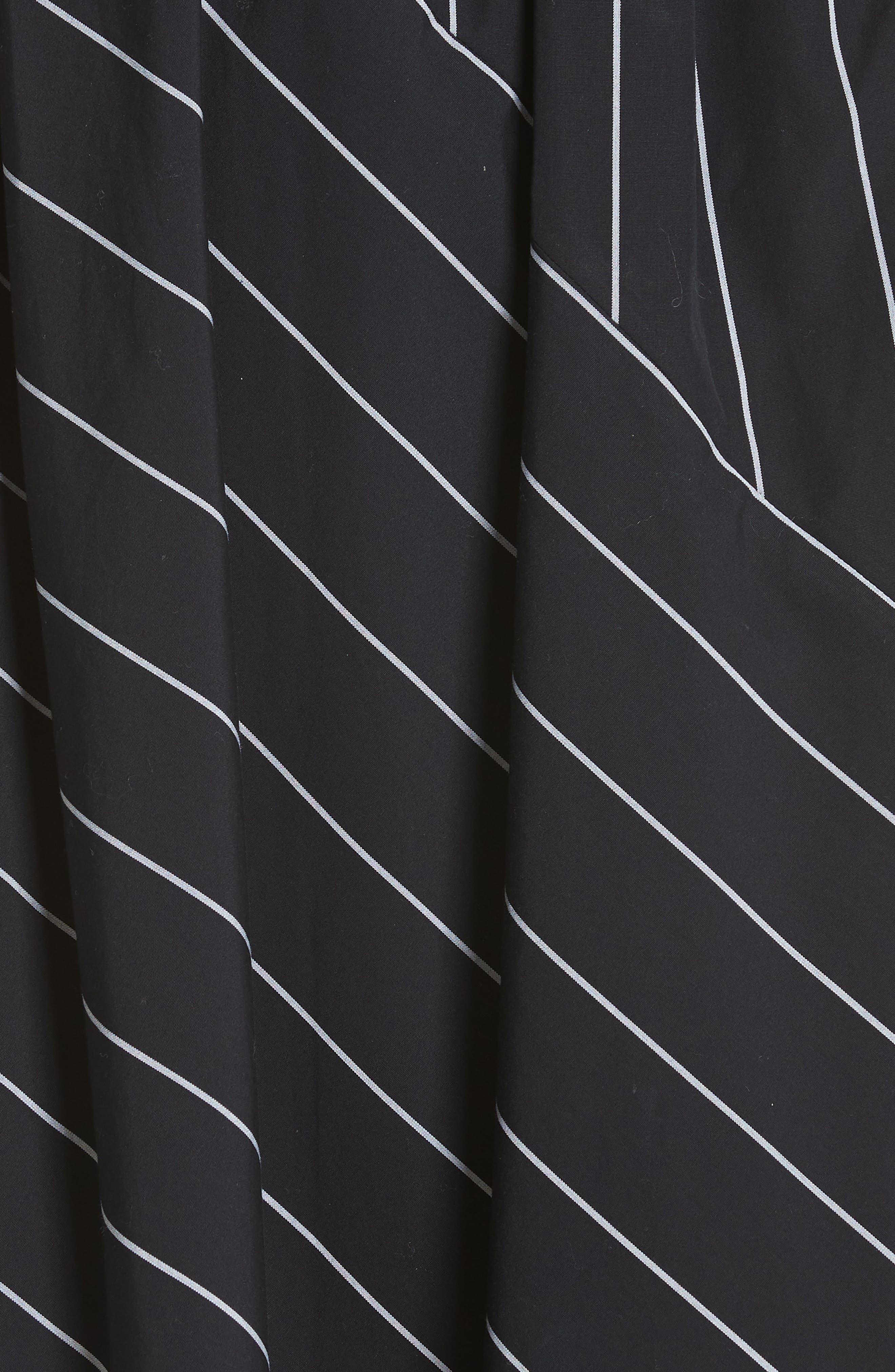 Skinny Stripe Asymmetrical Cotton Skirt,                             Alternate thumbnail 5, color,                             435