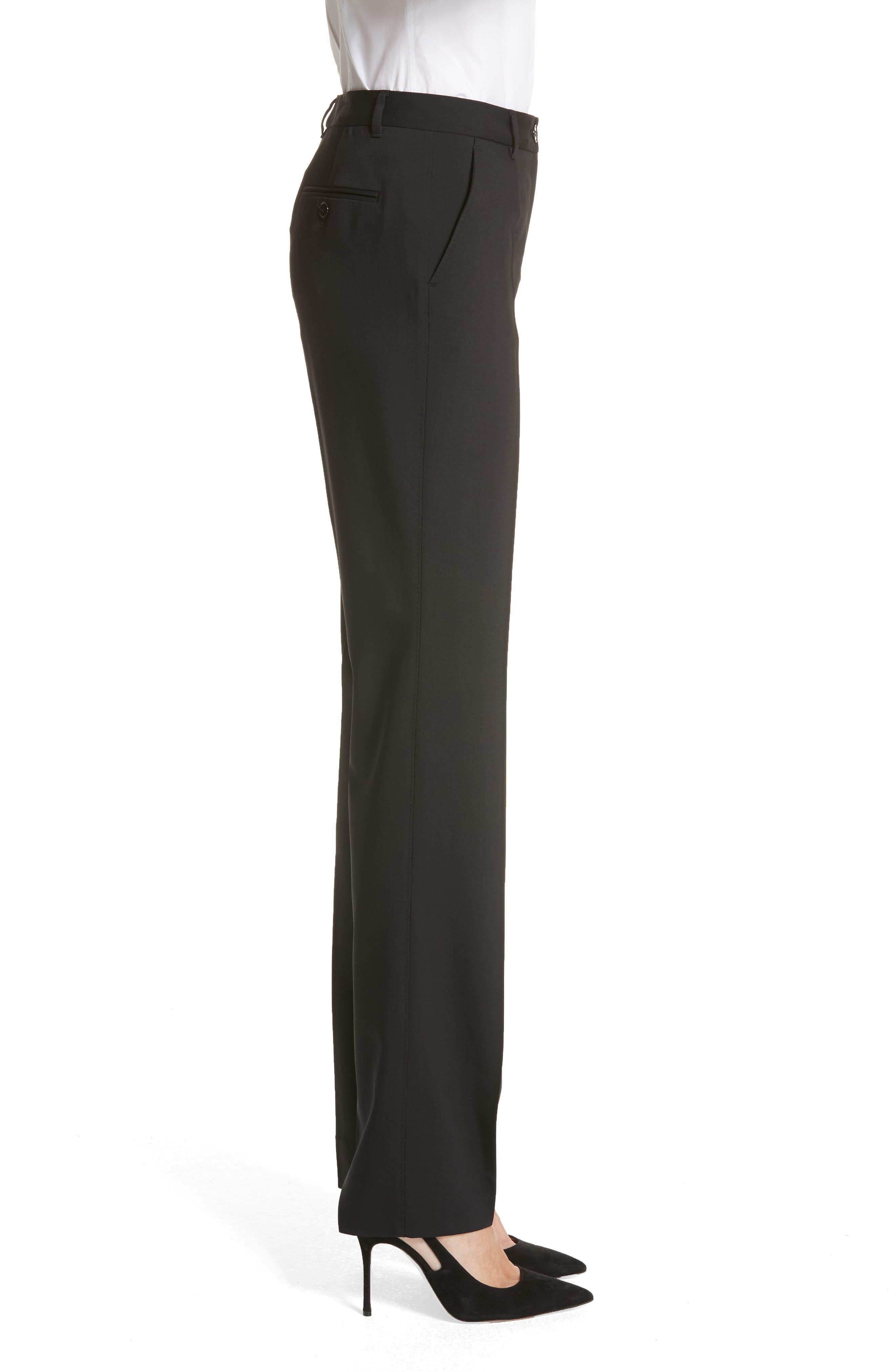 Straight Leg Stretch Wool Trousers,                             Alternate thumbnail 4, color,                             BLACK