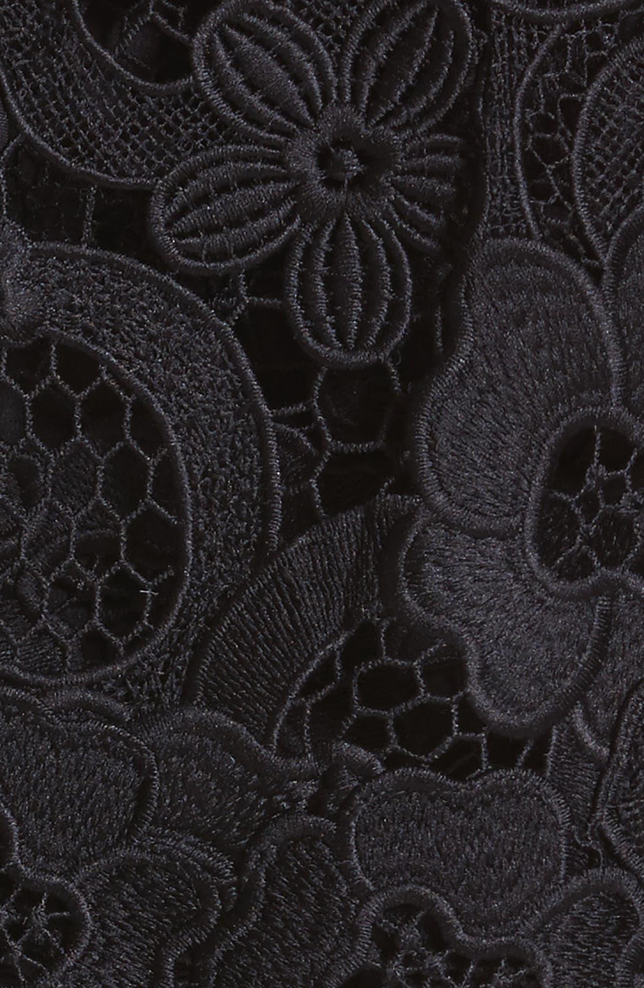 Lace Capelet Sheath Dress,                             Alternate thumbnail 5, color,                             001