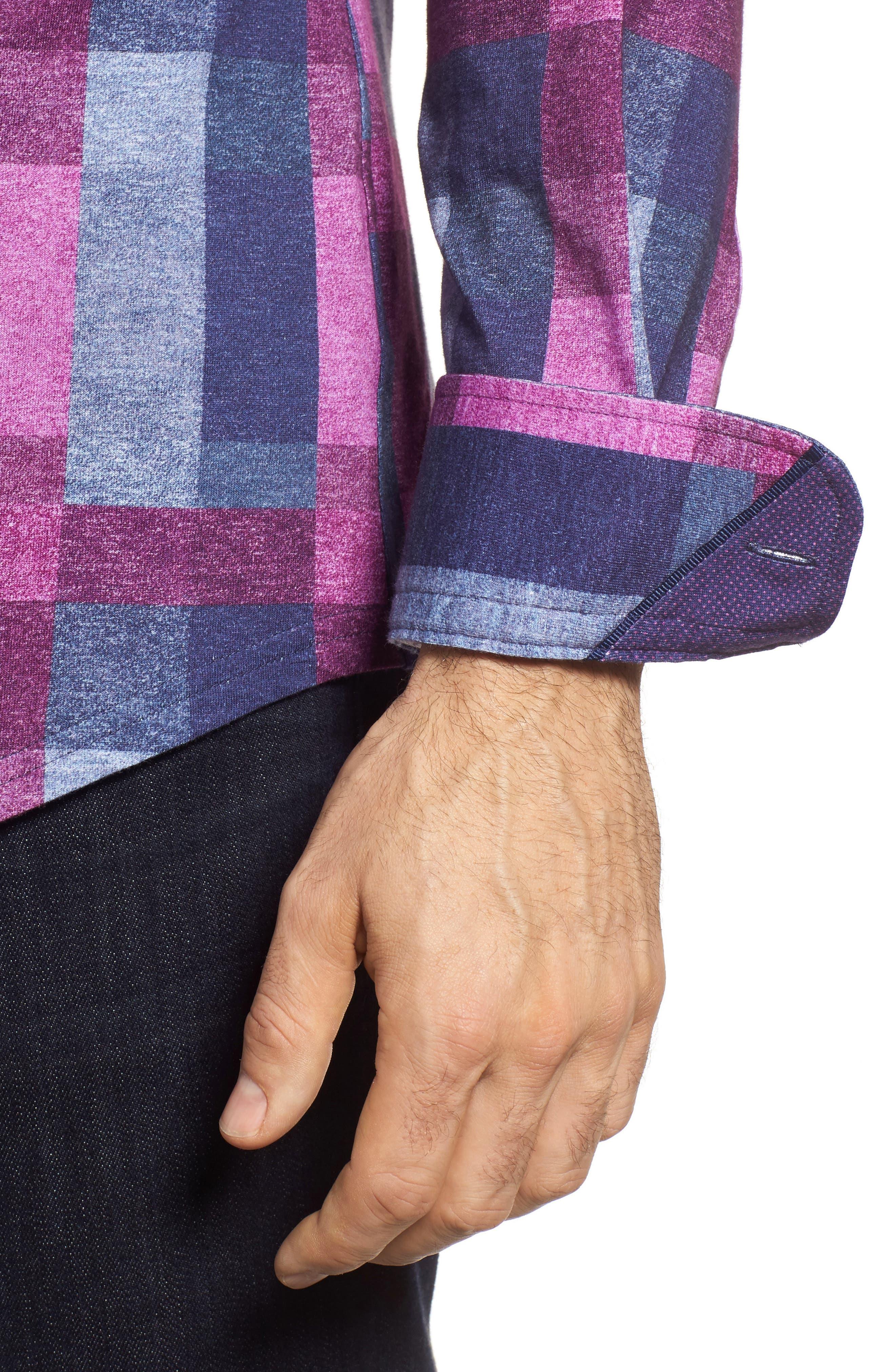 Multicheck Print Knit Sport Shirt,                             Alternate thumbnail 4, color,                             410