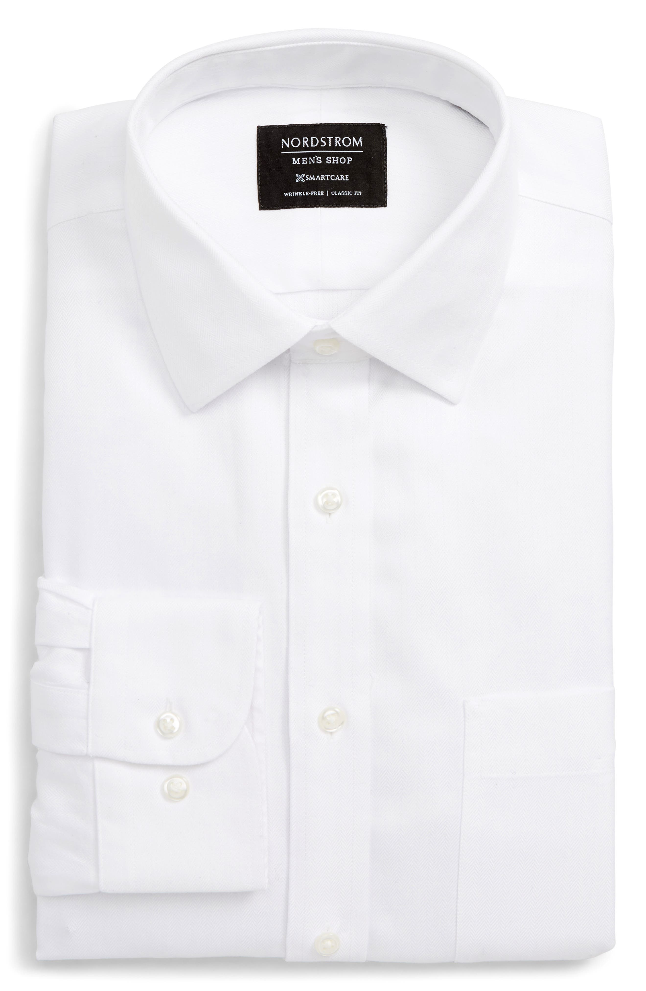 Nordstrom Shop Smartcare(TM) Classic Fit Herringbone Dress Shirt, White