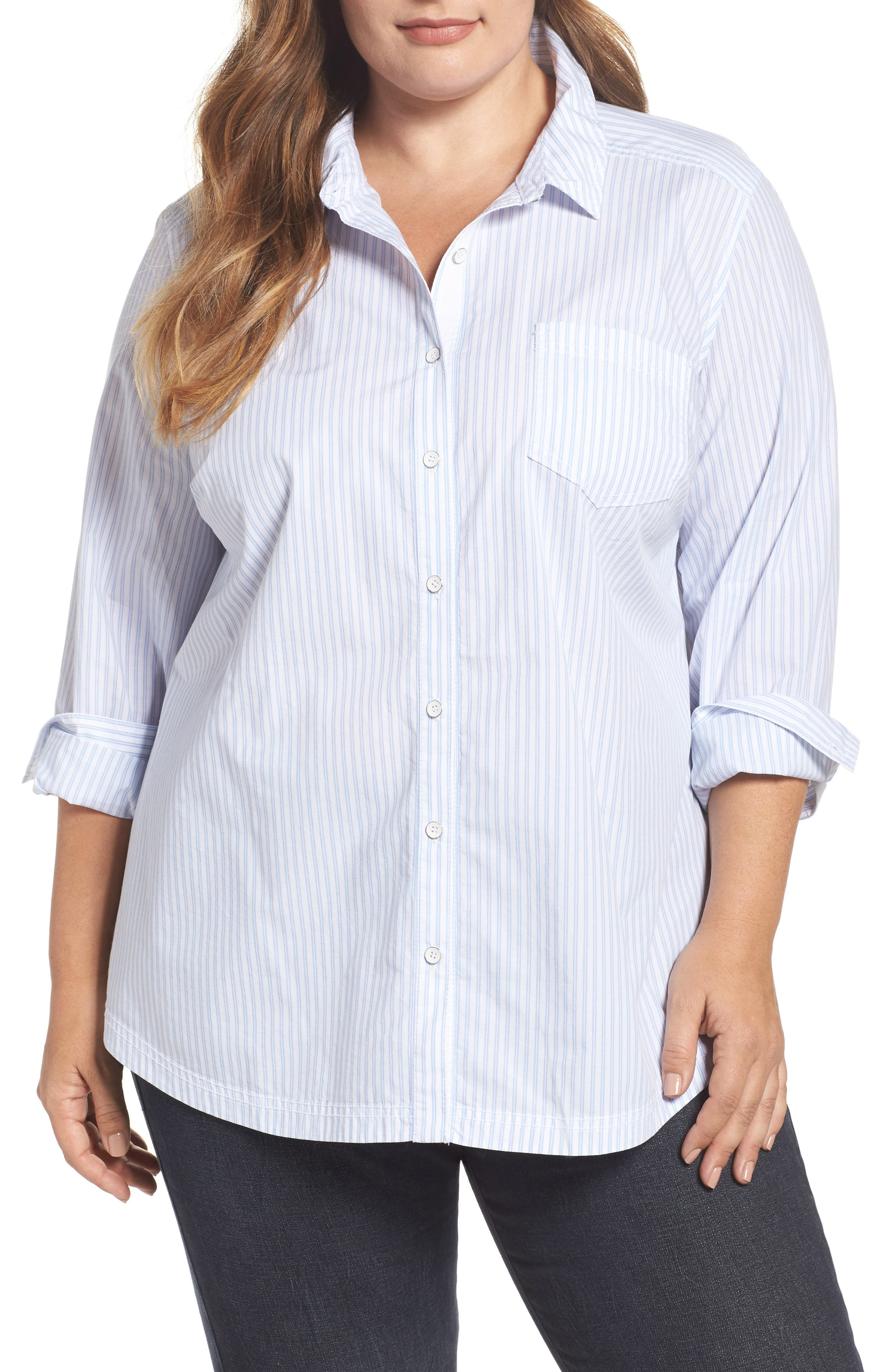 Stripe Button Front Shirt,                         Main,                         color, 420