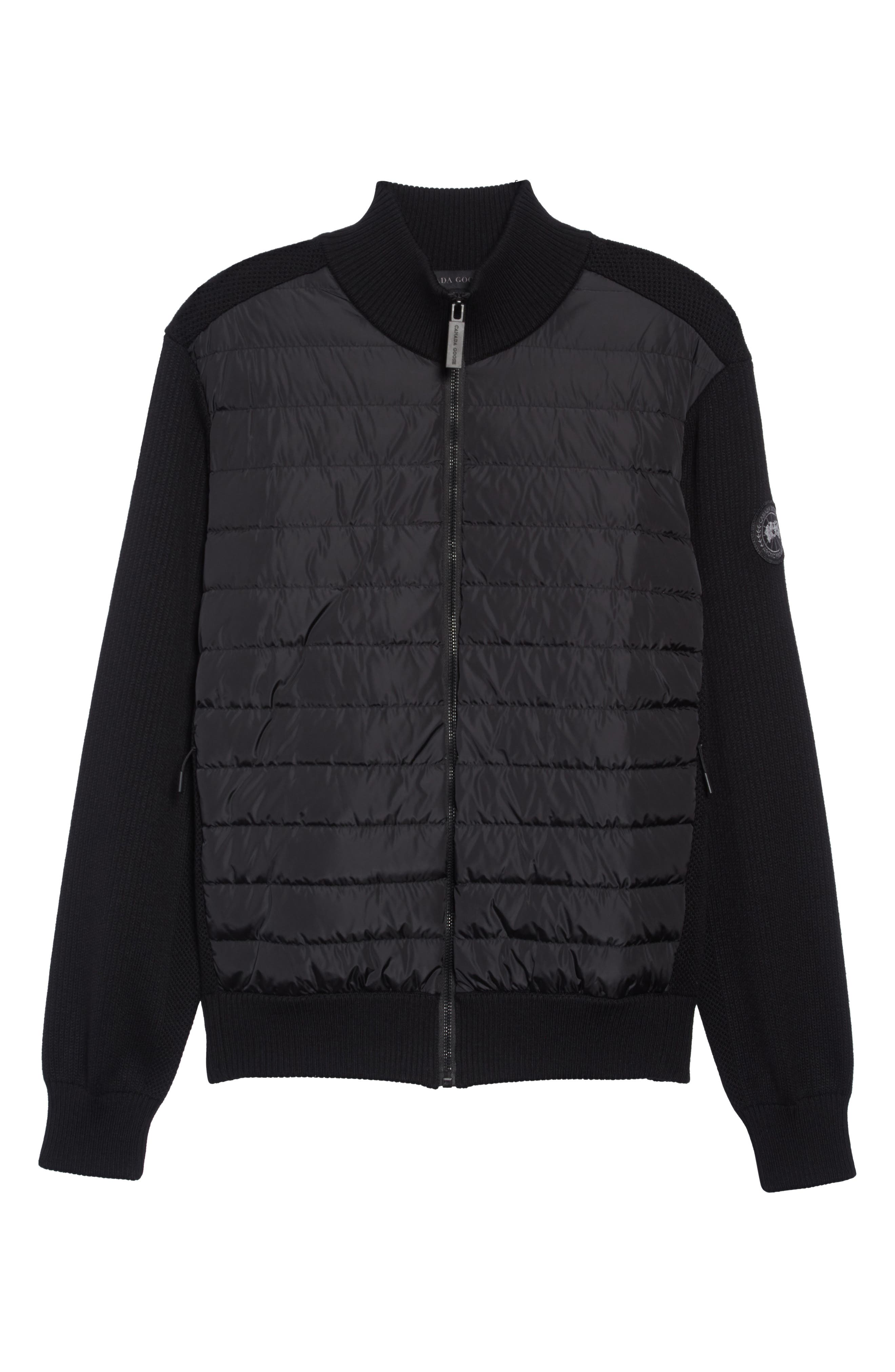 CANADA GOOSE,                             Hybridge Slim Fit Down Front Knit Jacket,                             Alternate thumbnail 7, color,                             BLACK