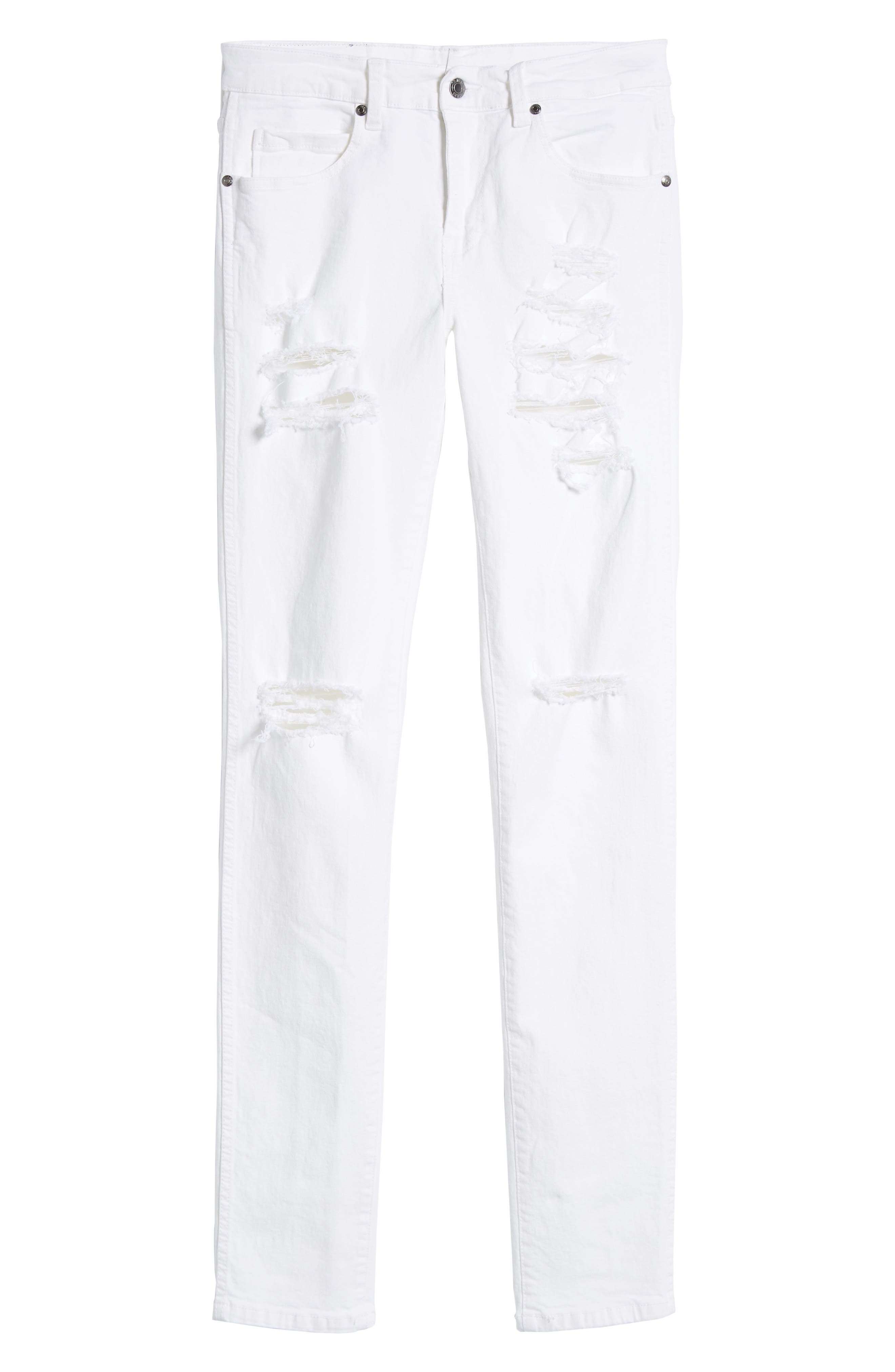 Snap Skinny Fit Jeans,                             Alternate thumbnail 6, color,                             WHITE RIPPED