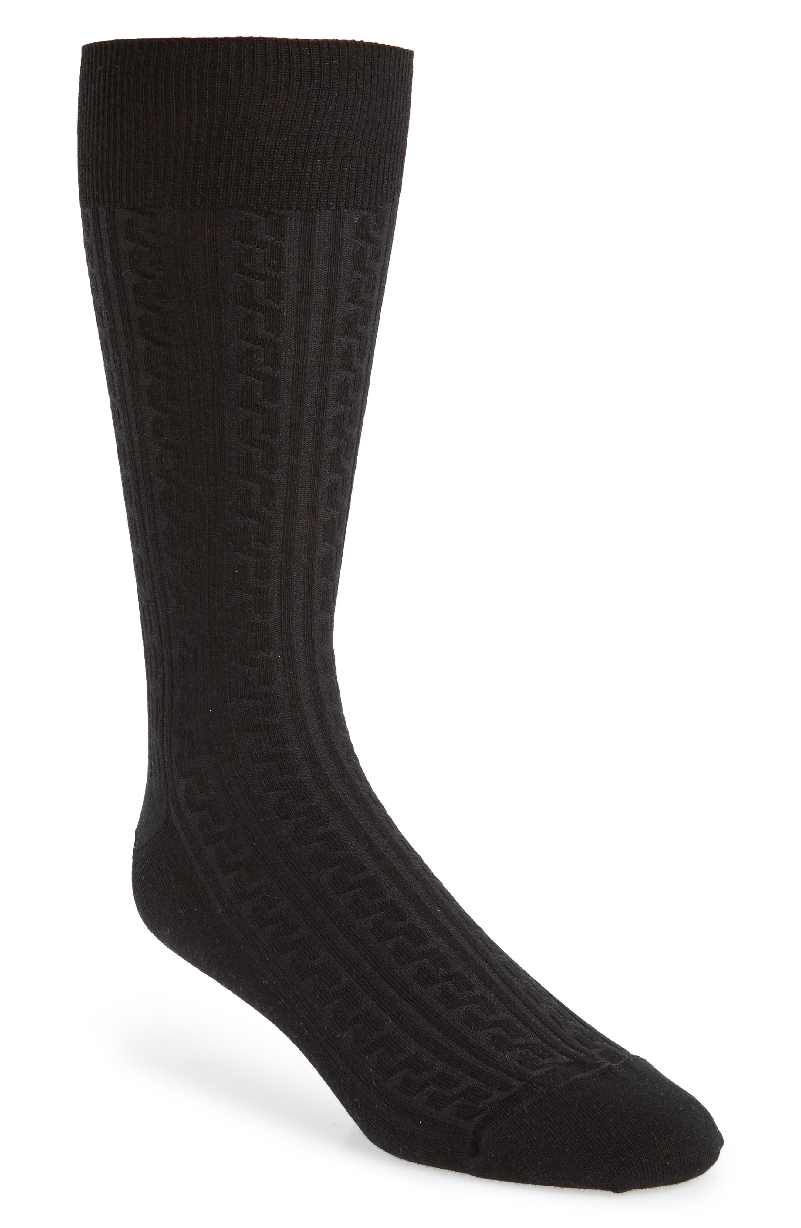 Cable Knit Merino Blend Socks,                             Main thumbnail 1, color,                             001