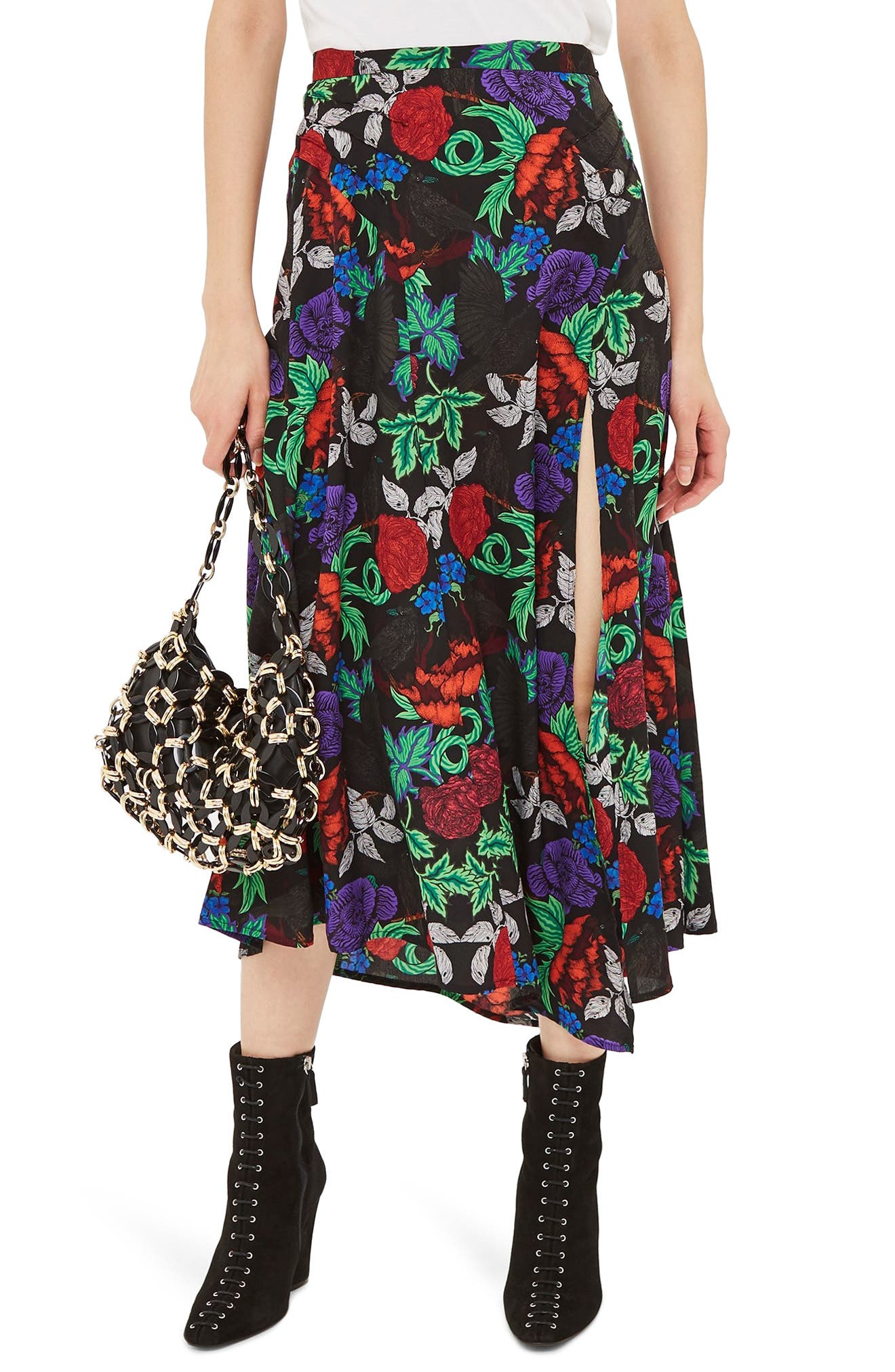 Topshop Raven Floral Midi Skirt, US (fits like 0) - Black