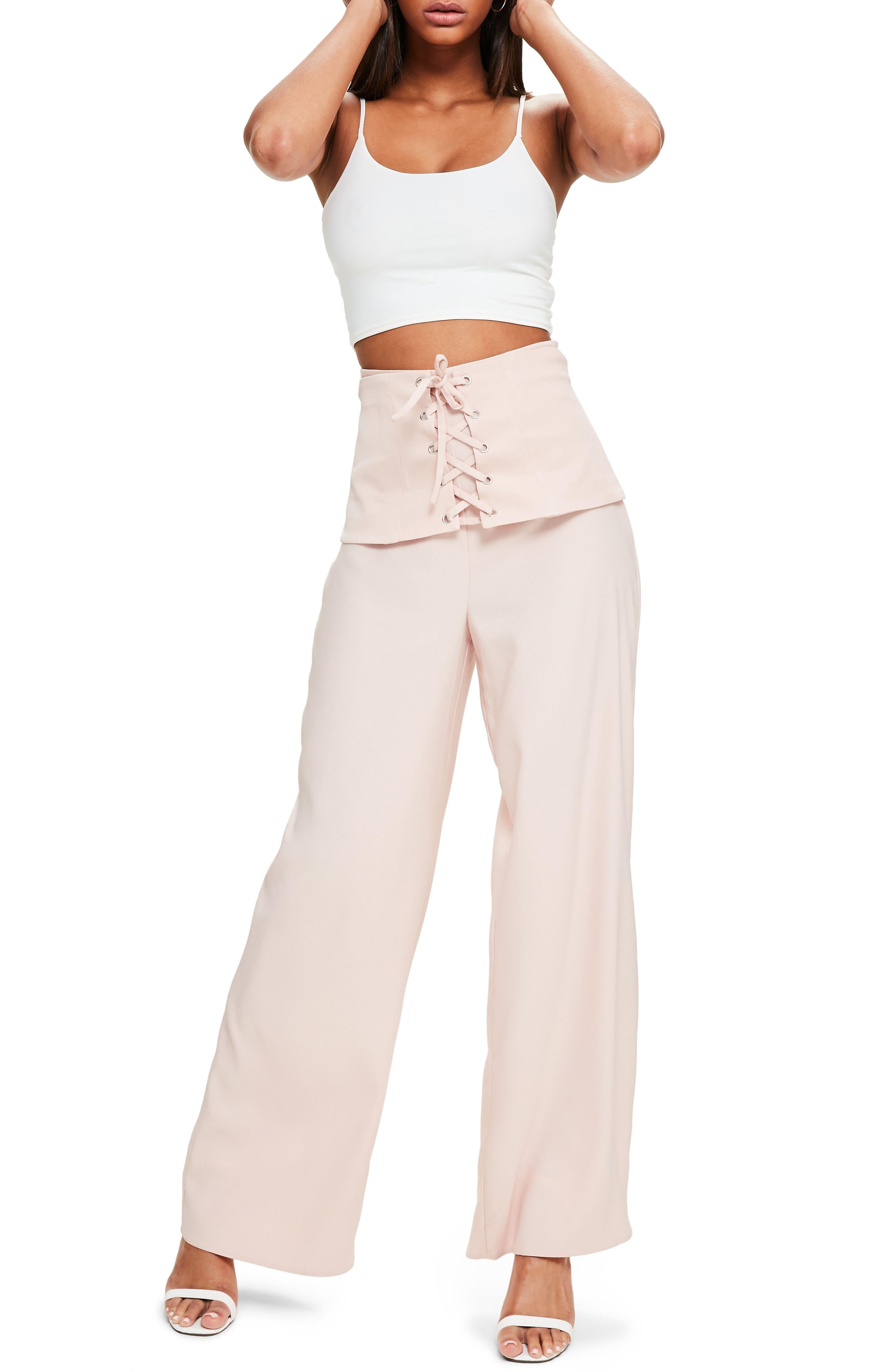 Corset Waist Crepe Pants,                             Alternate thumbnail 3, color,                             690