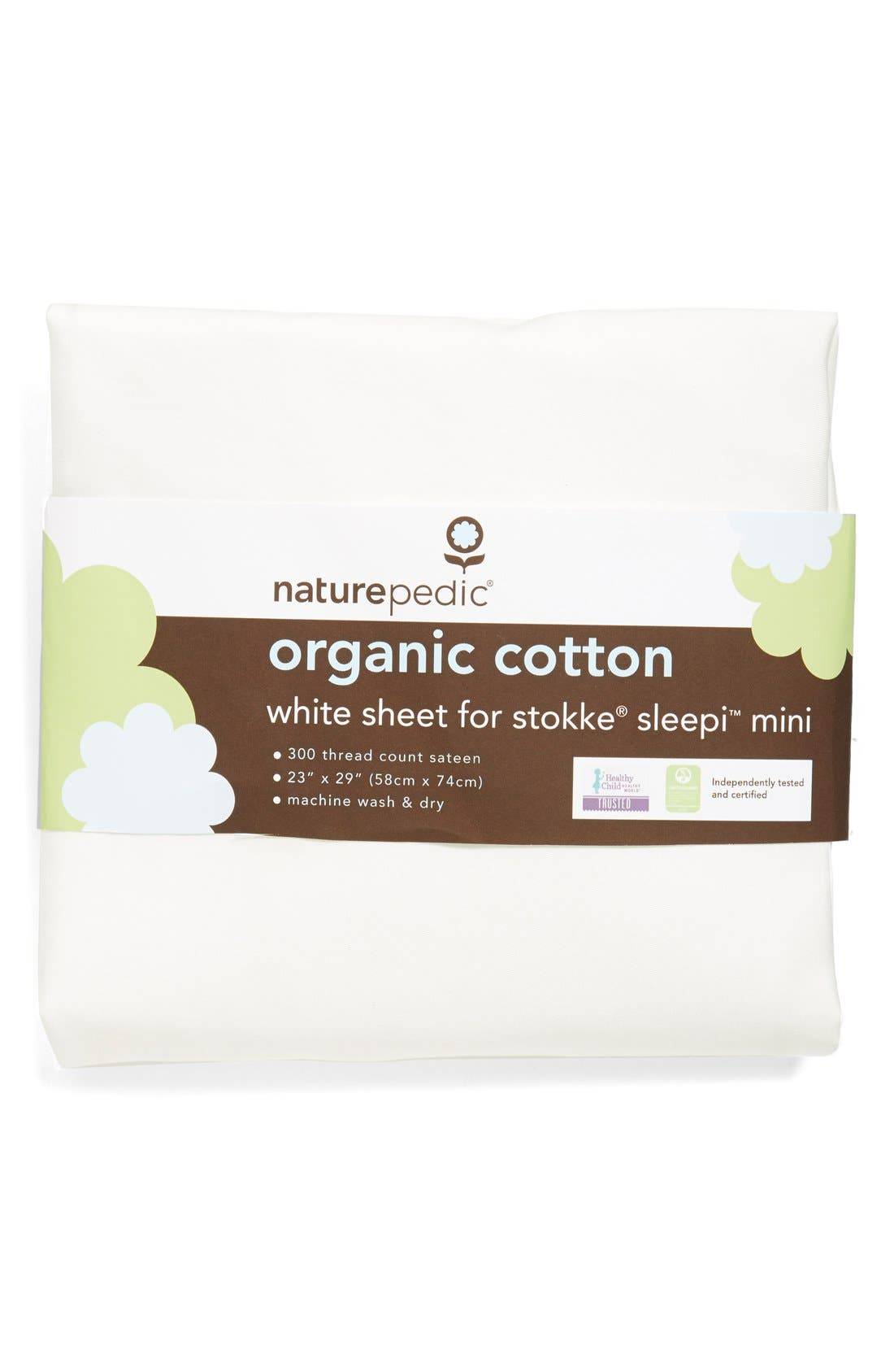 300 Thread Count Organic Cotton Oval Crib Sheet for Stokke Sleepi Mini,                             Main thumbnail 1, color,                             WHITE