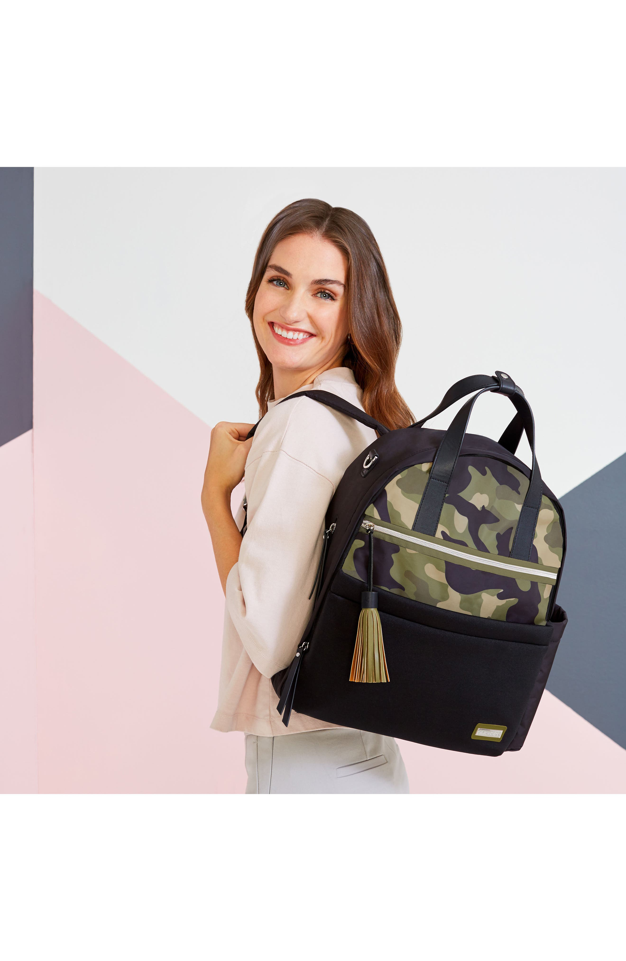 Nolita Neoprene Diaper Backpack,                             Alternate thumbnail 6, color,                             BLACK/ DARK CAMO