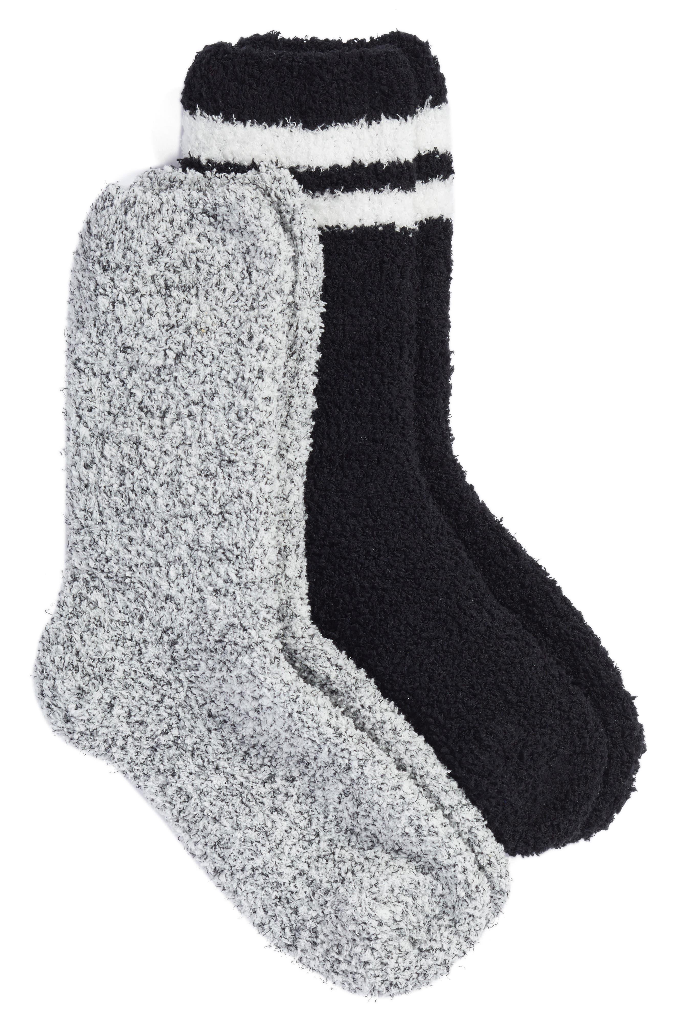 Varsity Stripe 2-Pack Plush Crew Socks,                         Main,                         color, 002