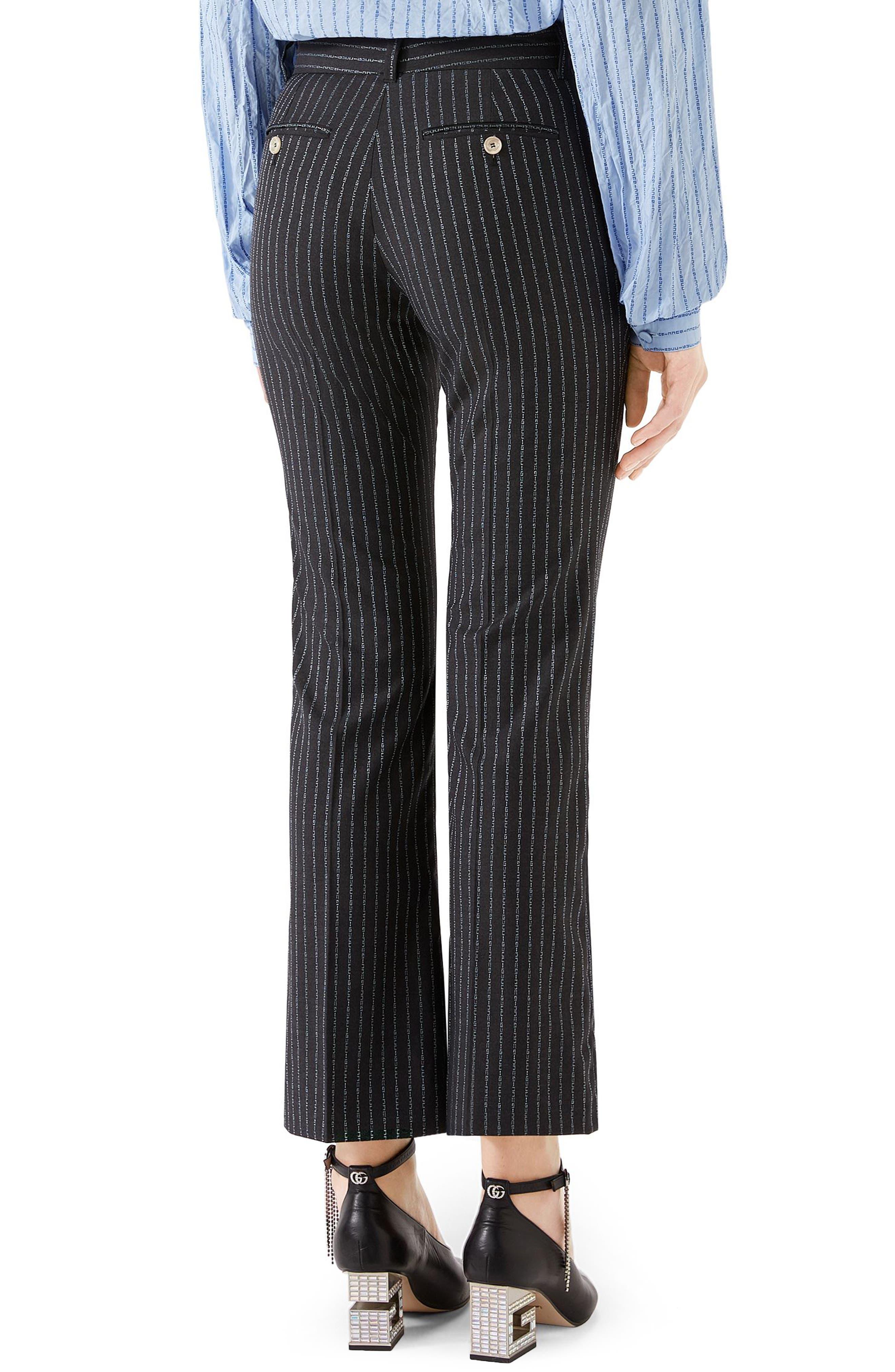 GUCCI,                             Gucci Stripe Bootcut Pants,                             Alternate thumbnail 2, color,                             1180 DARK GREY/ AZURE