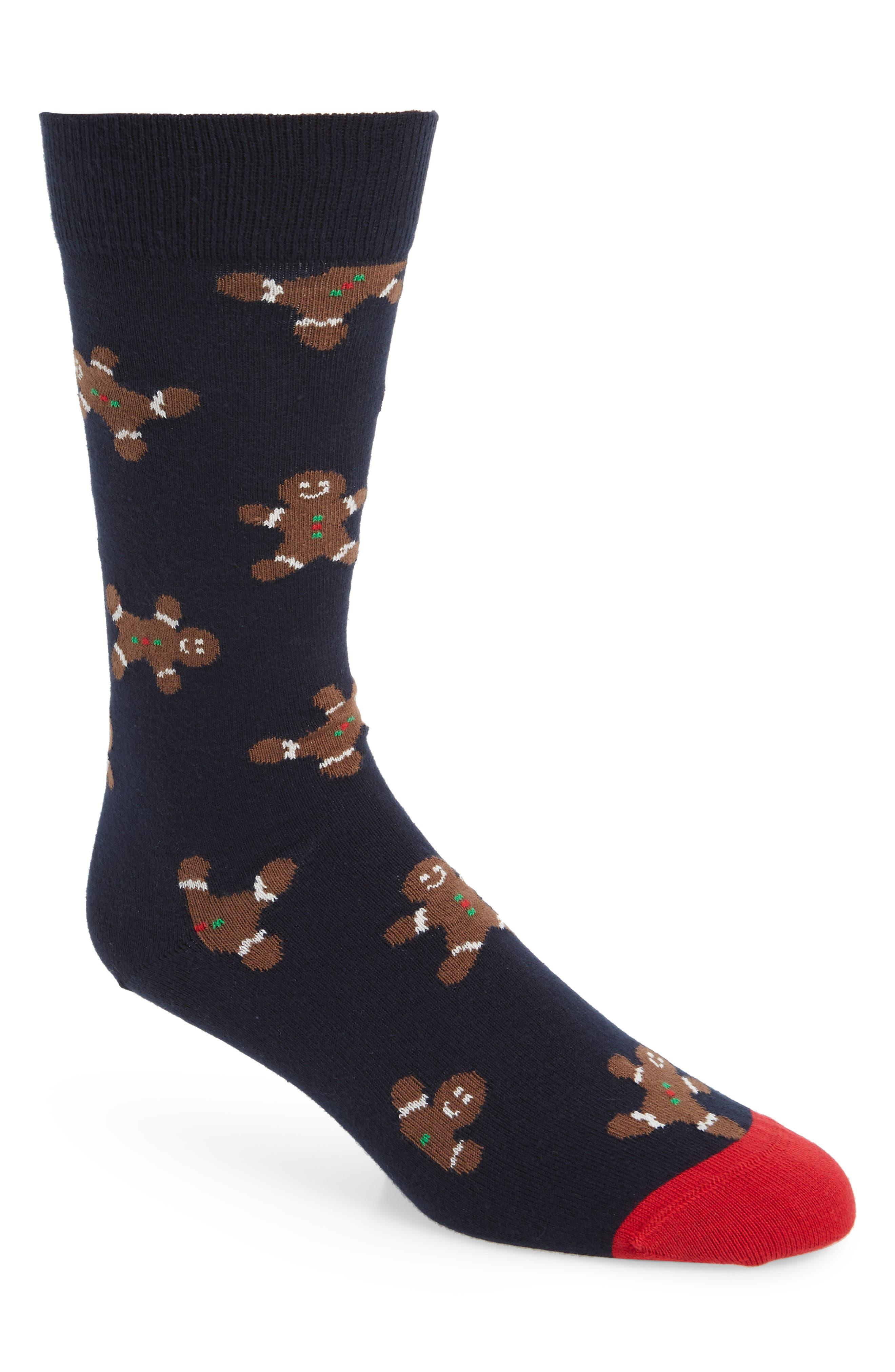 HAPPY SOCKS Gingerbread Men Socks in Black