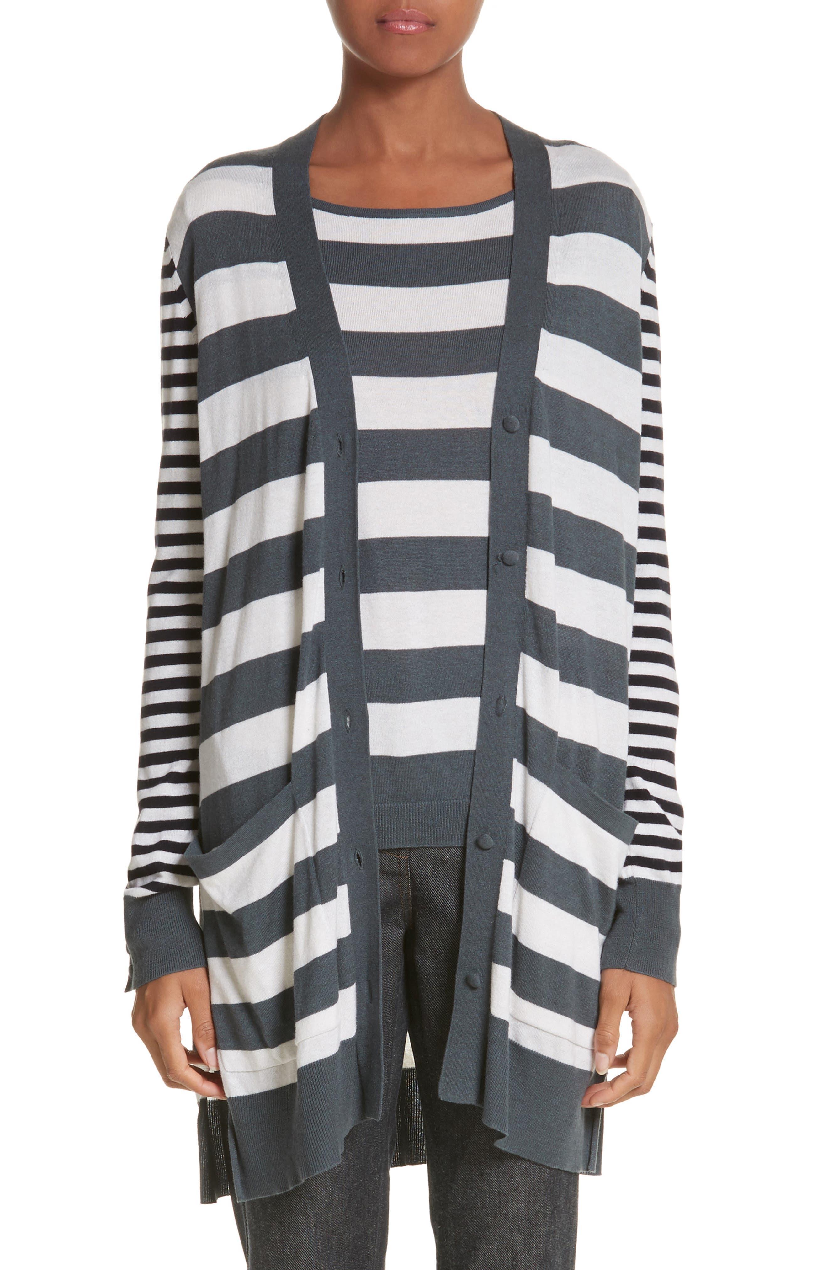 Etiopia Stripe Silk & Cashmere Cardigan,                             Main thumbnail 1, color,                             054