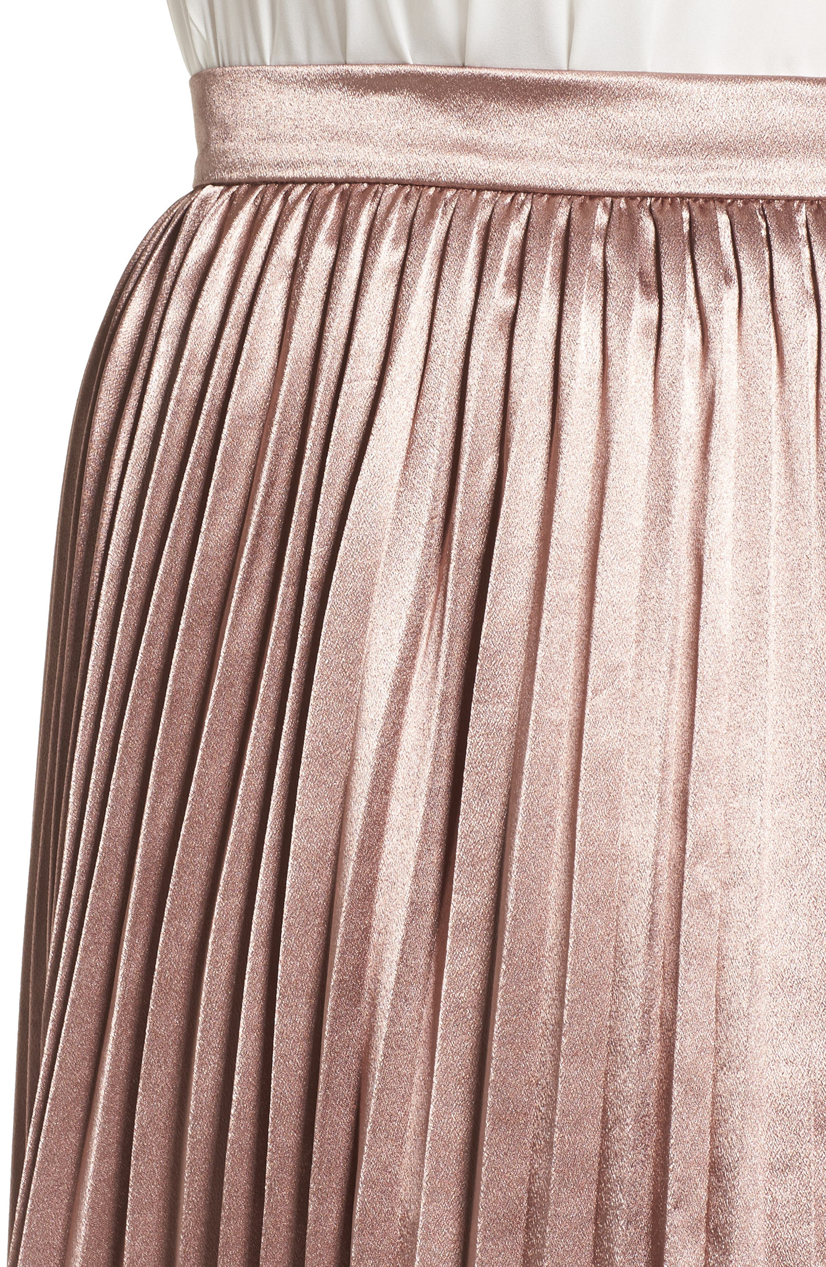 Pleat Metallic Skirt,                             Alternate thumbnail 4, color,                             650