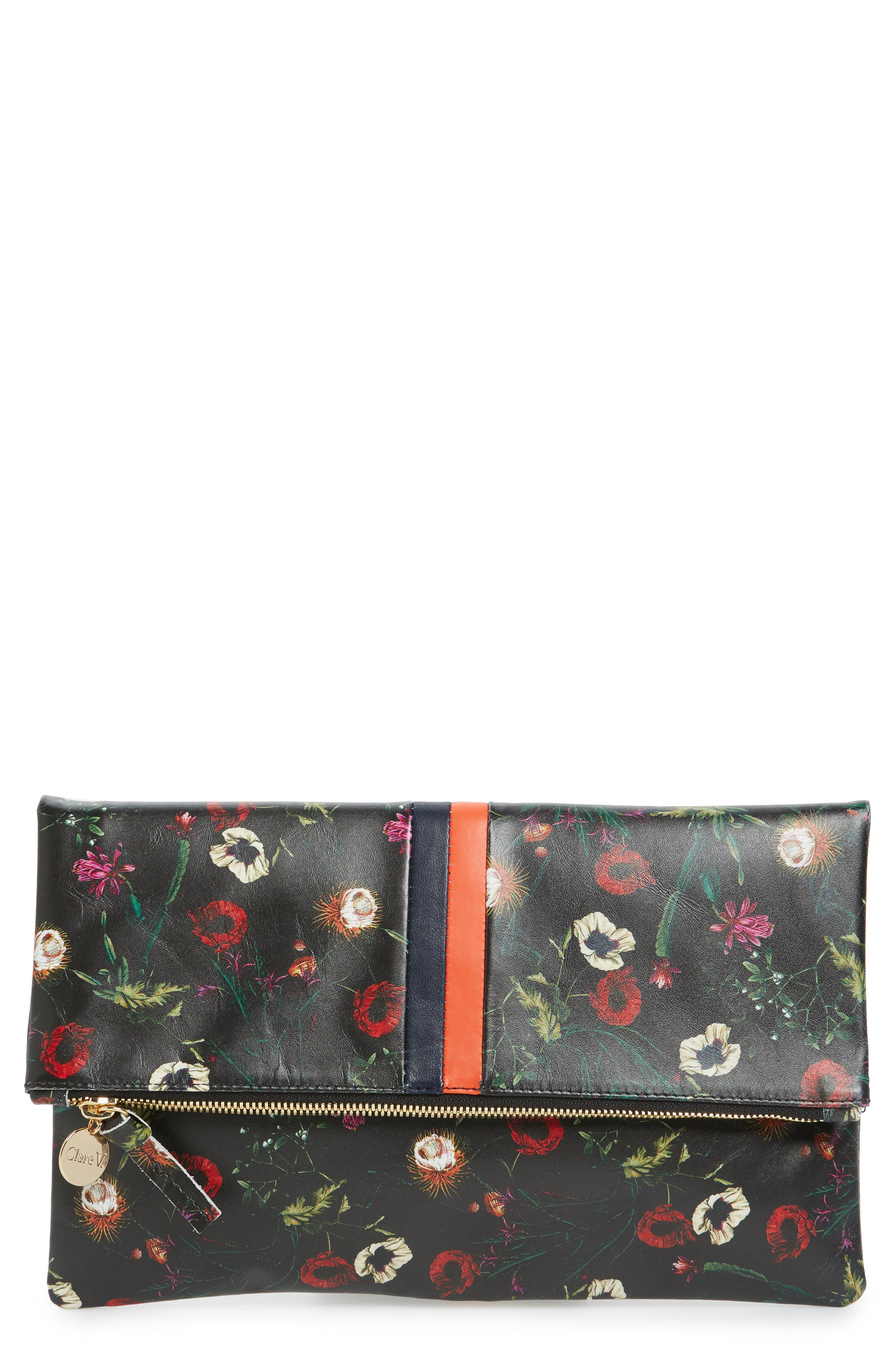 Floral Leather Foldover Clutch,                             Main thumbnail 1, color,                             001