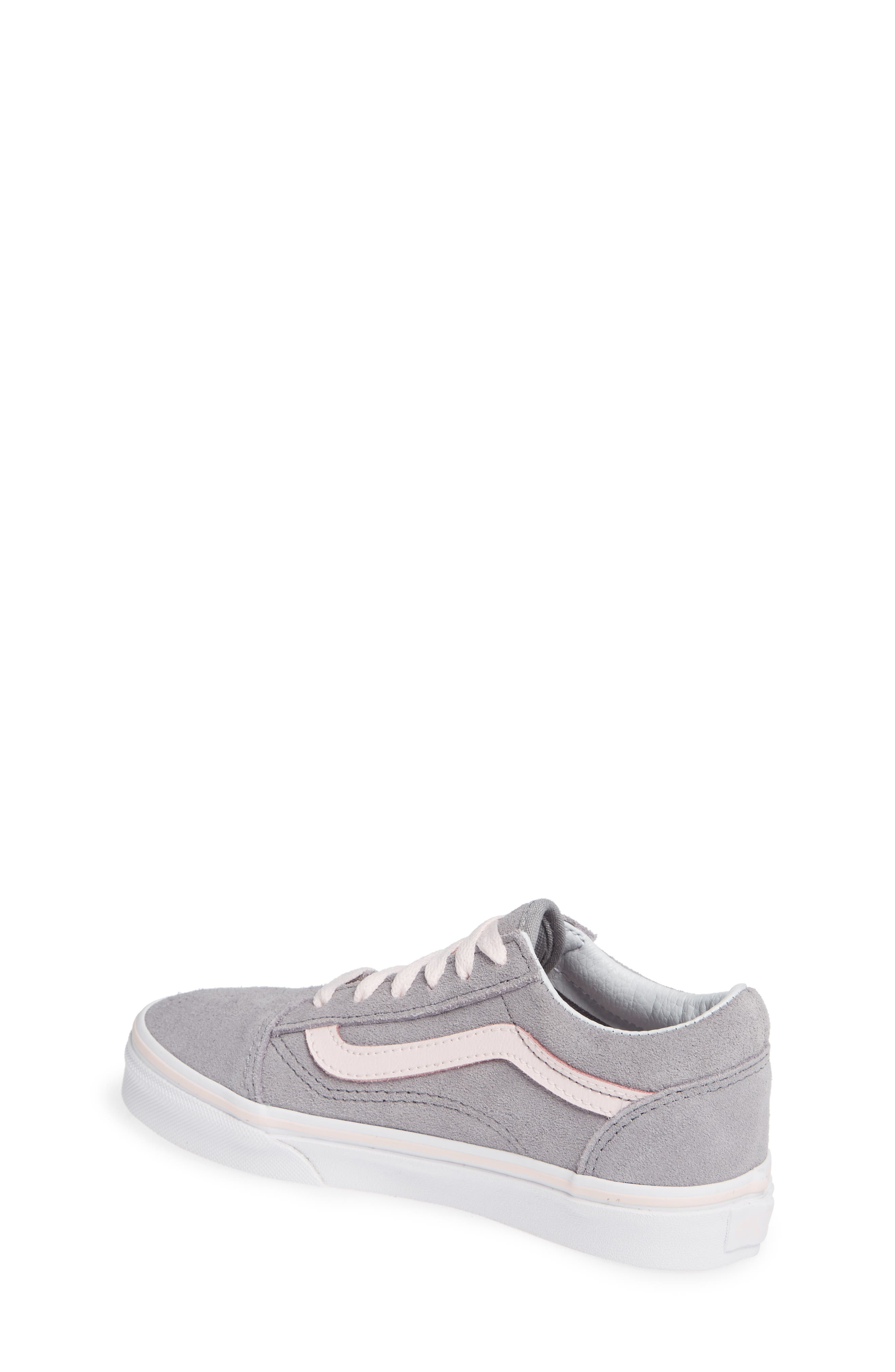 Old Skool Sneaker,                             Alternate thumbnail 2, color,                             SUEDE ALLOY/ PINK/ TRUE WHITE