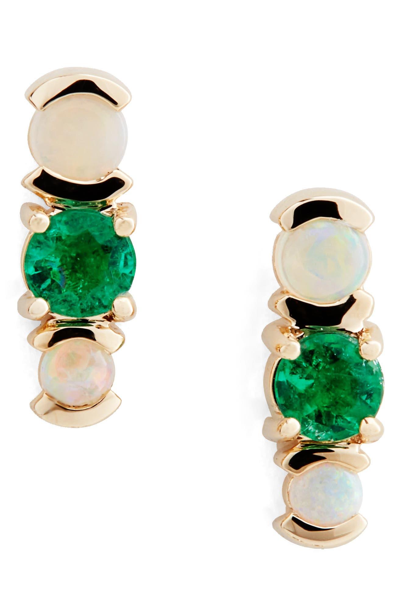 Emerald & Opal Cluster Earrings,                         Main,                         color, 340