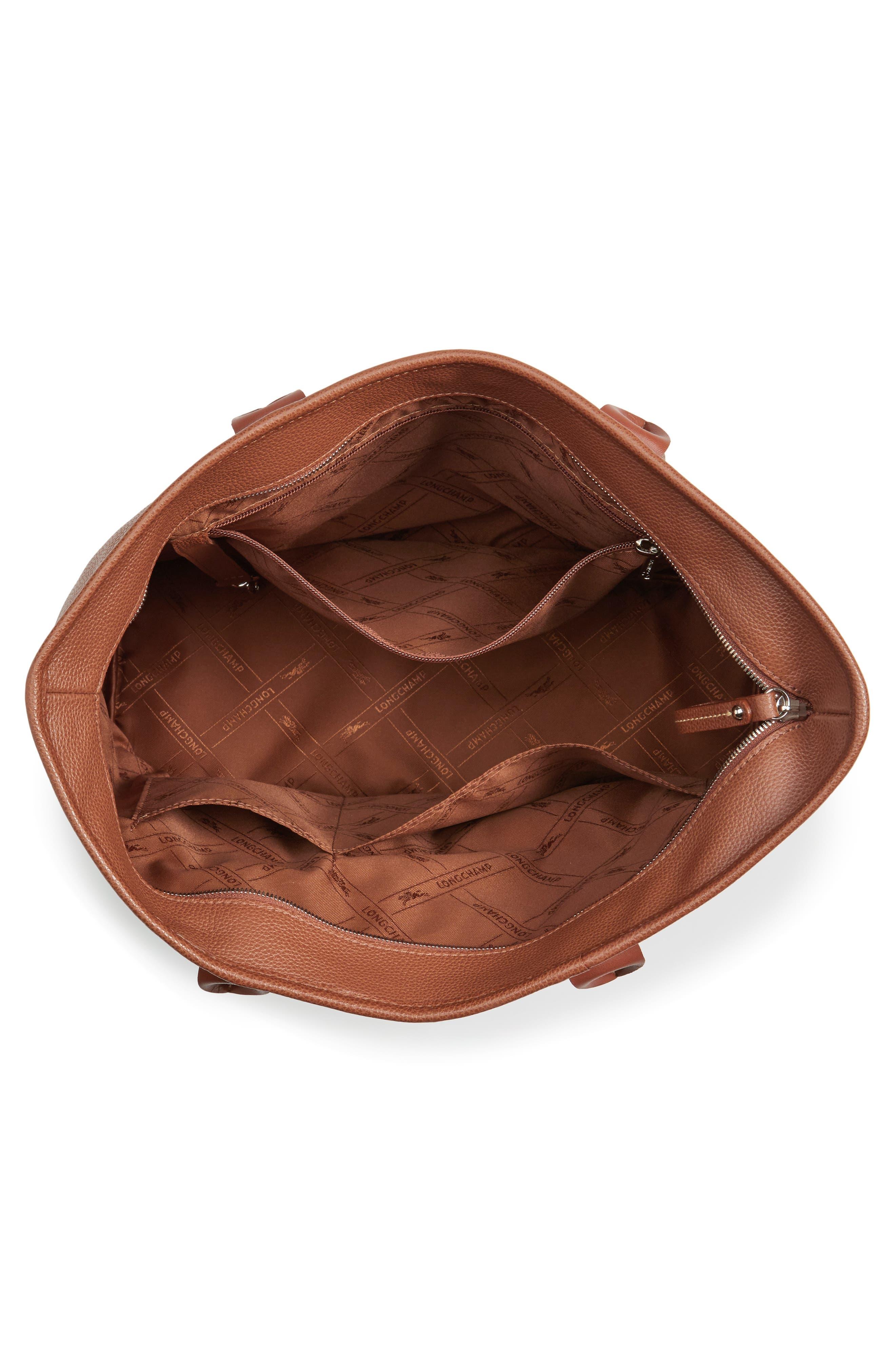 'Veau' Leather Tote,                             Alternate thumbnail 4, color,                             200